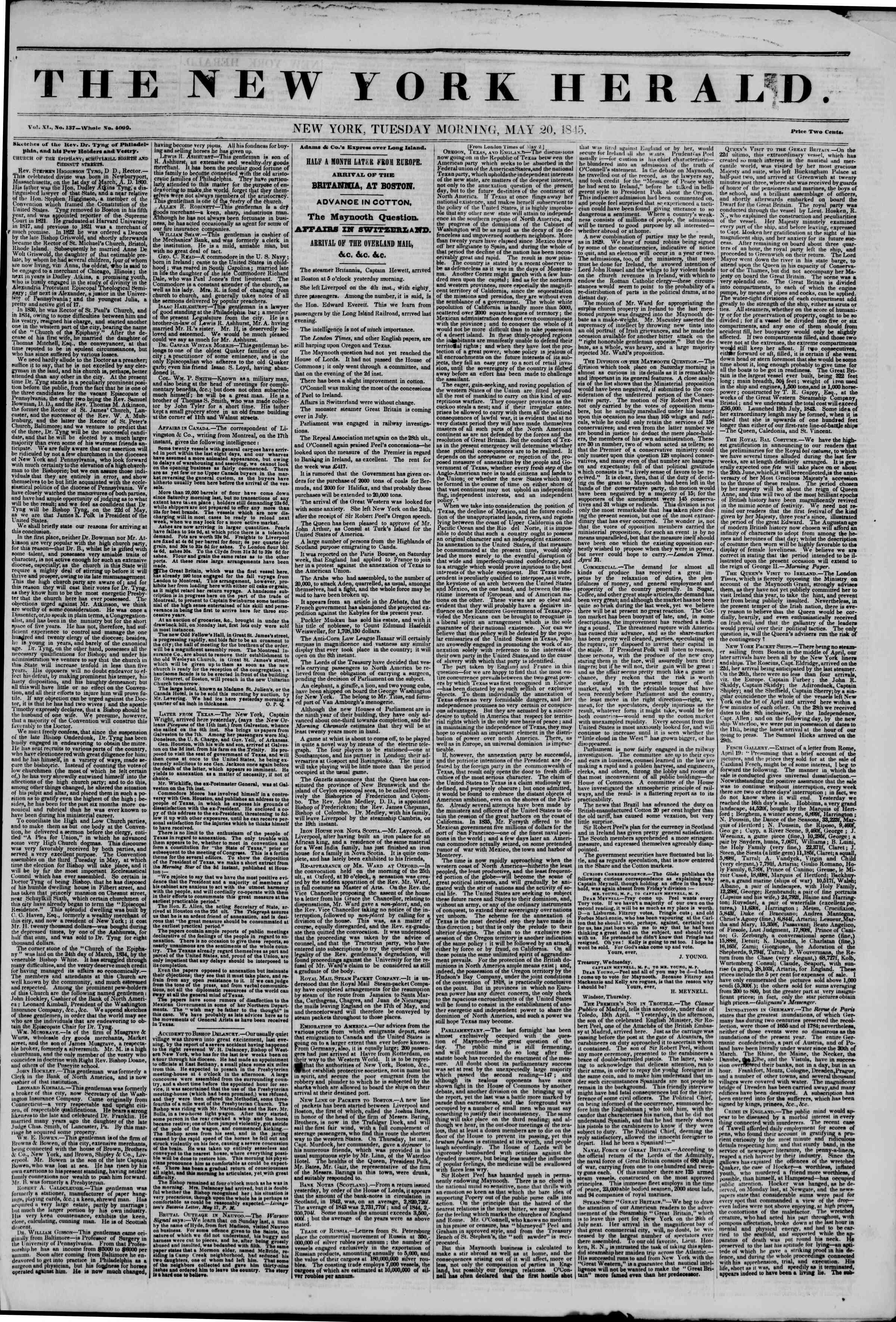 May 20, 1845 Tarihli The New York Herald Gazetesi Sayfa 1