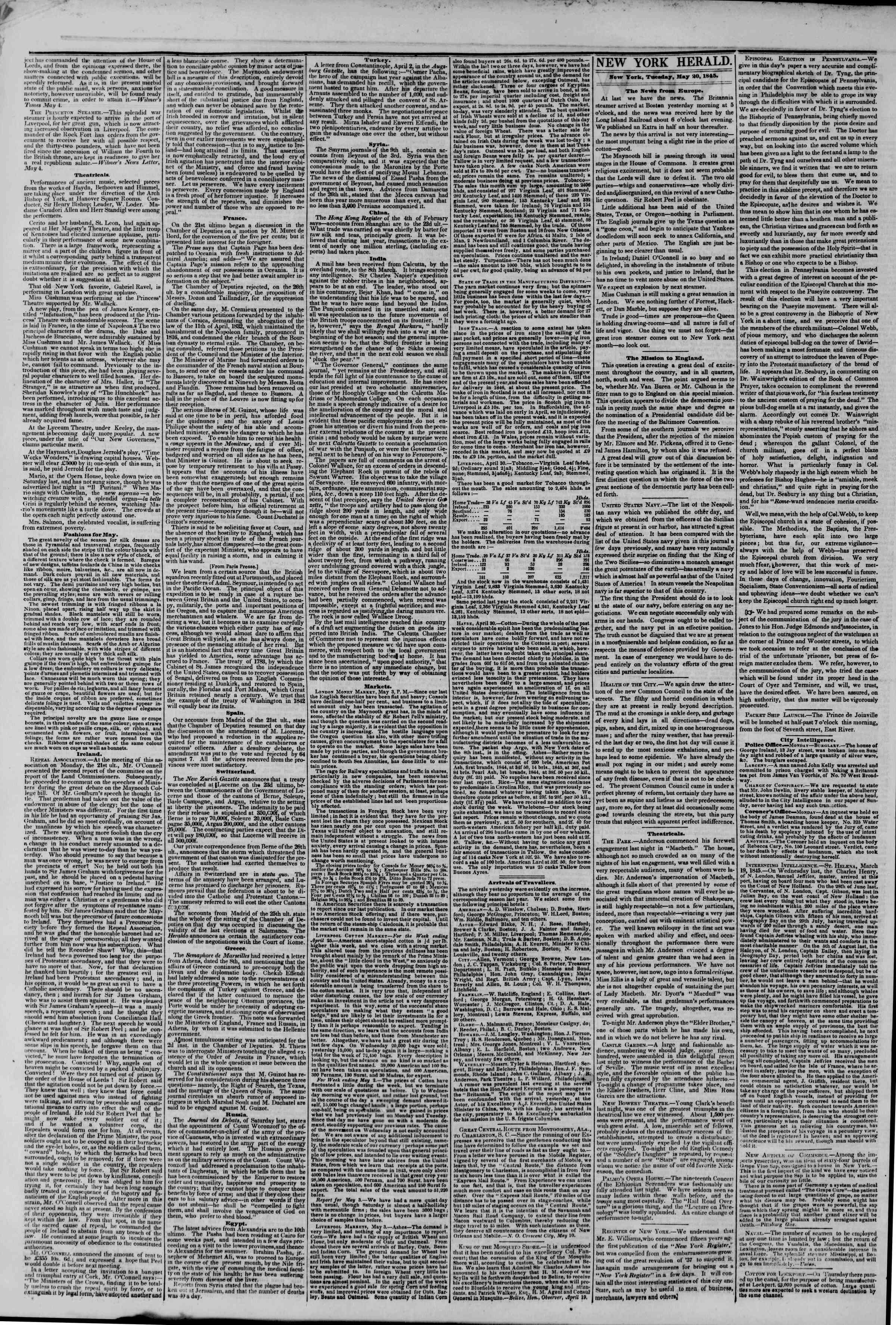 Newspaper of The New York Herald dated May 20, 1845 Page 2
