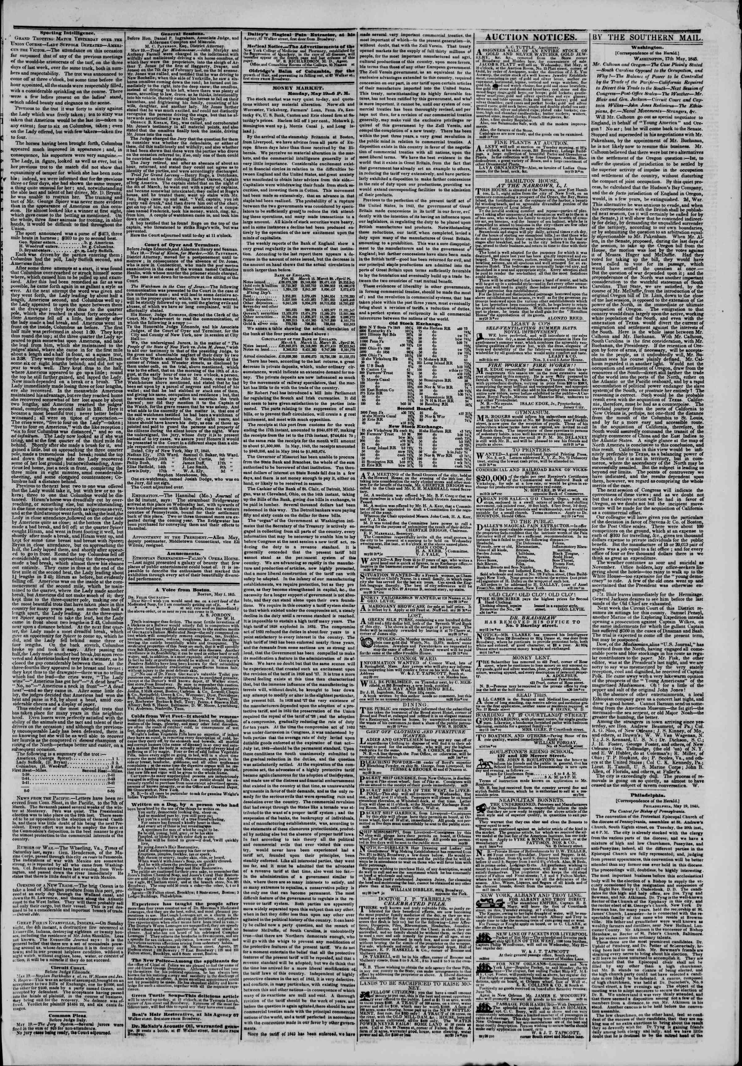 May 20, 1845 Tarihli The New York Herald Gazetesi Sayfa 3