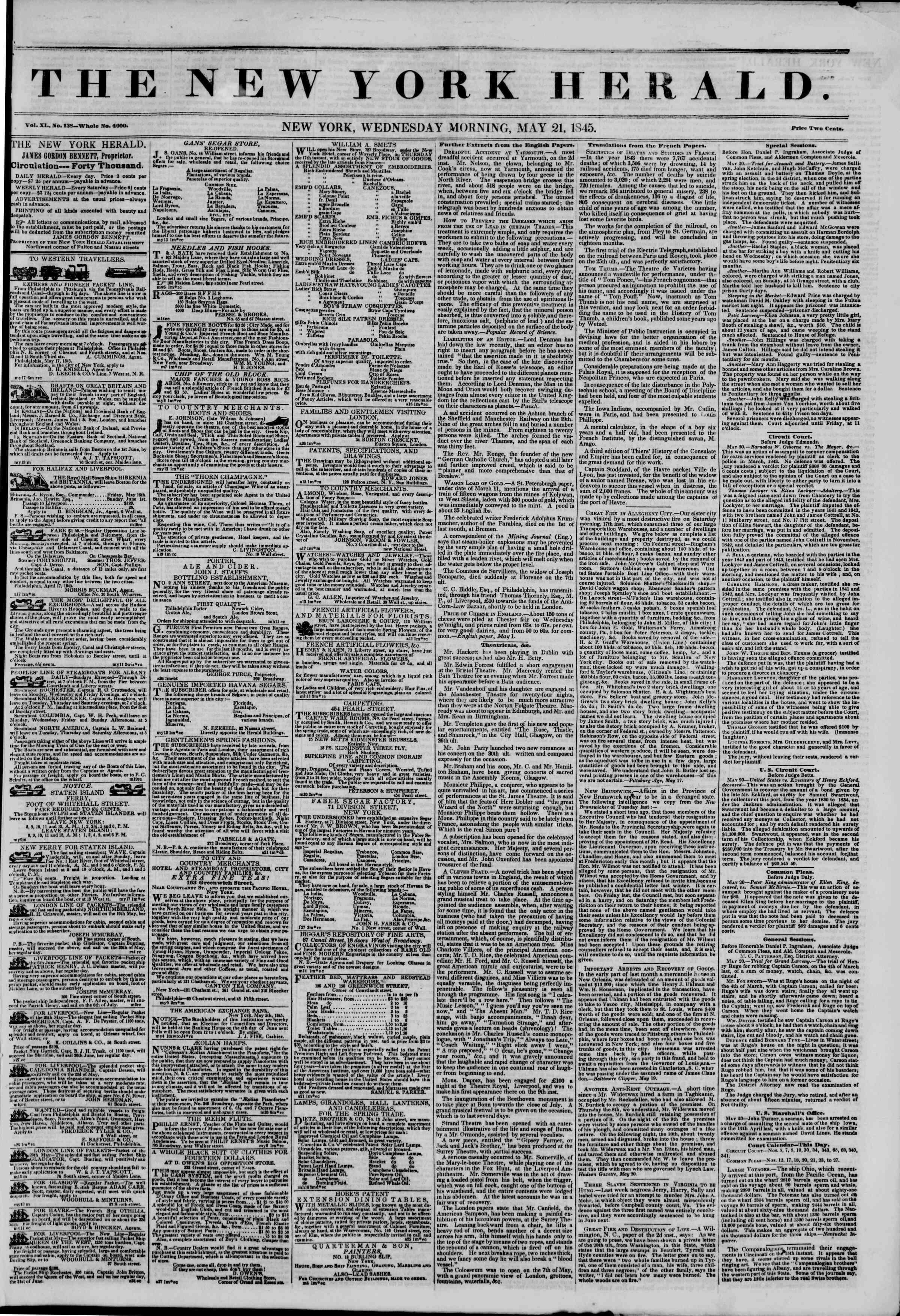 Newspaper of The New York Herald dated May 21, 1845 Page 1