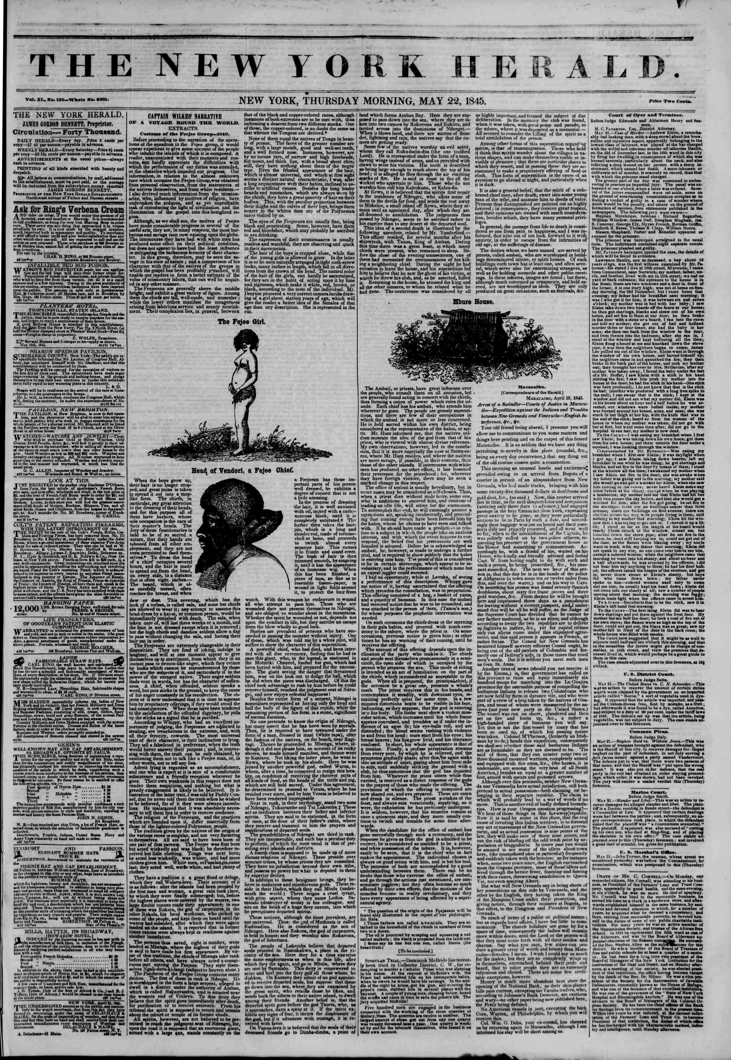 May 22, 1845 Tarihli The New York Herald Gazetesi Sayfa 1