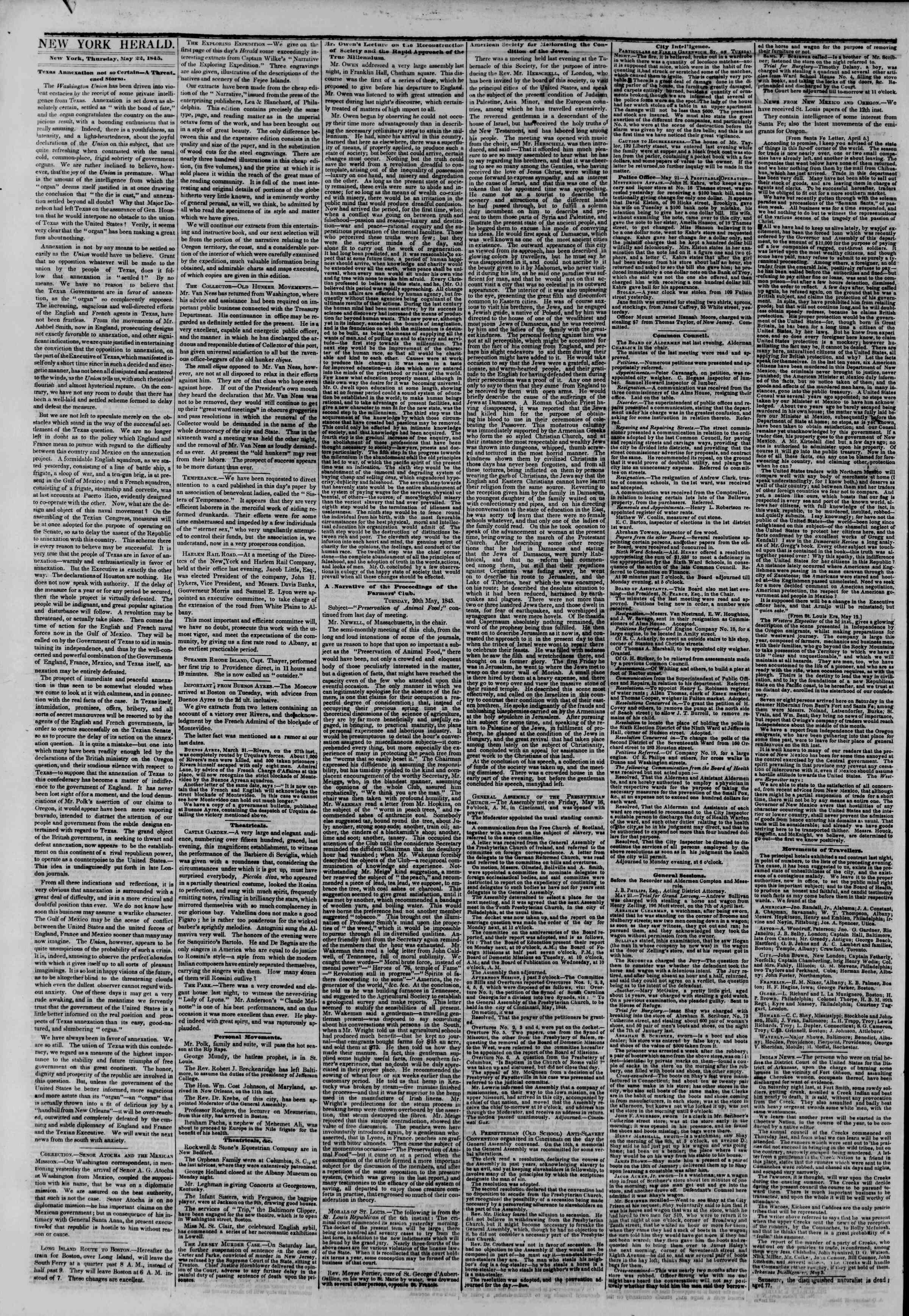 May 22, 1845 Tarihli The New York Herald Gazetesi Sayfa 2