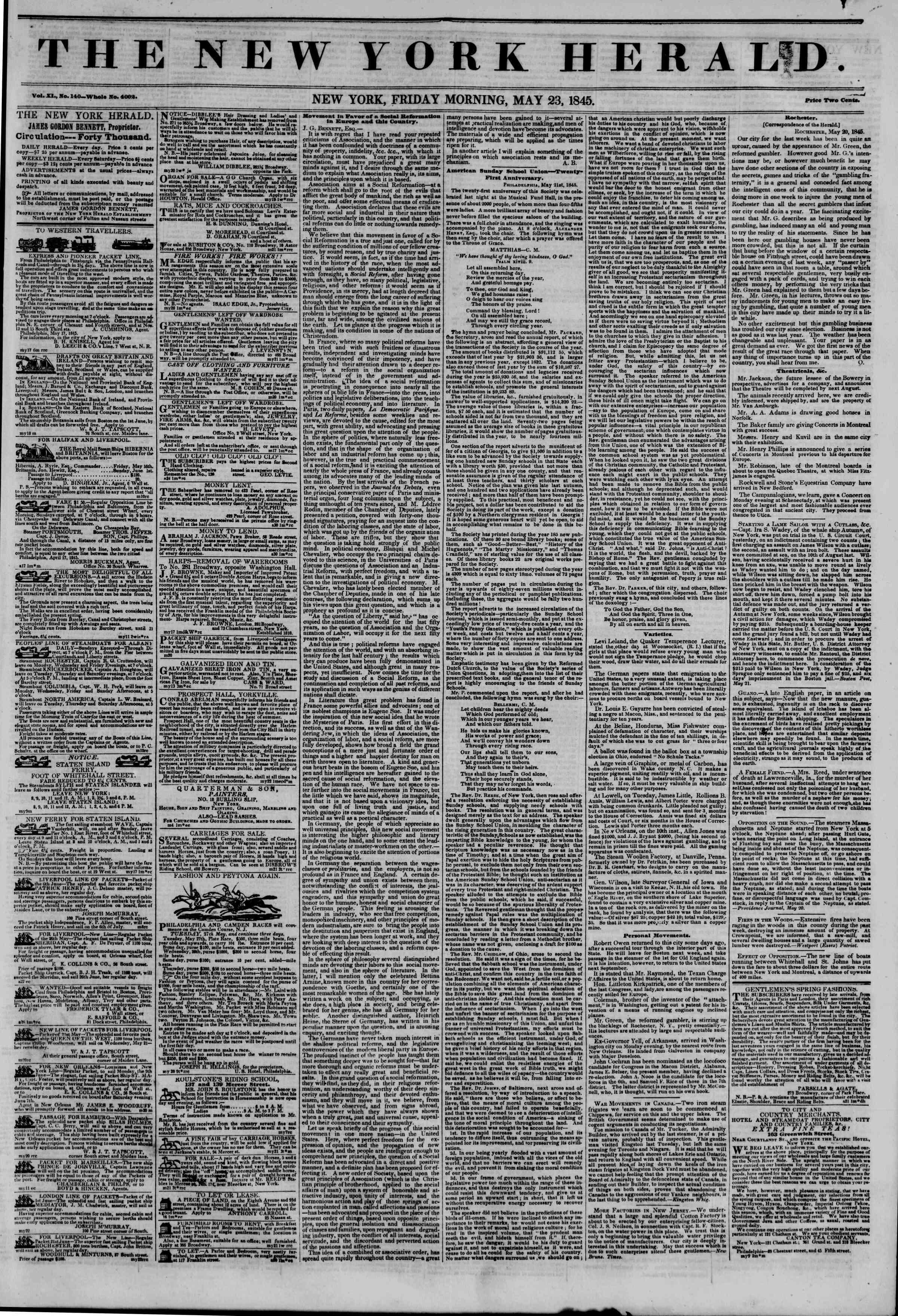 May 23, 1845 Tarihli The New York Herald Gazetesi Sayfa 1