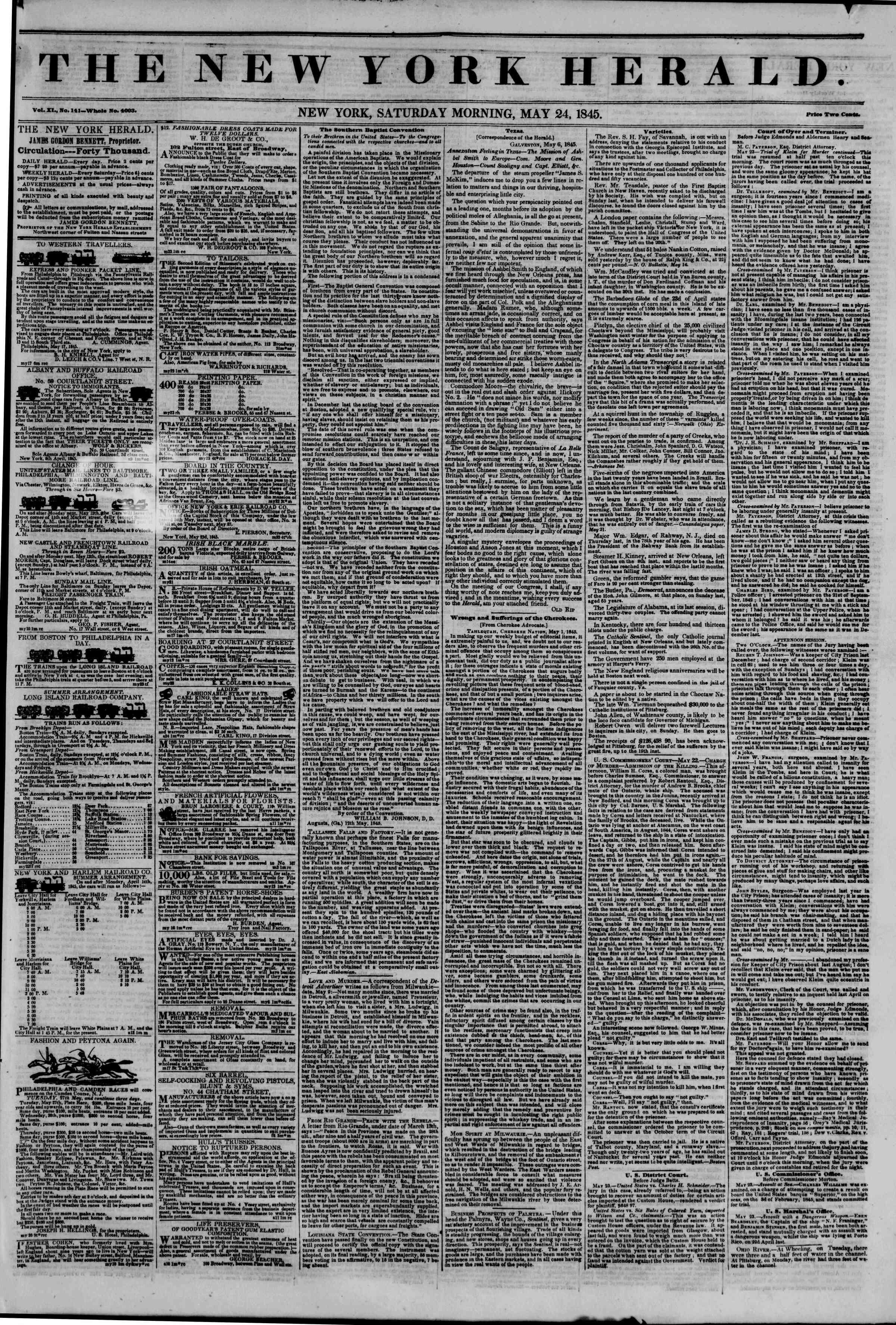 May 24, 1845 Tarihli The New York Herald Gazetesi Sayfa 1