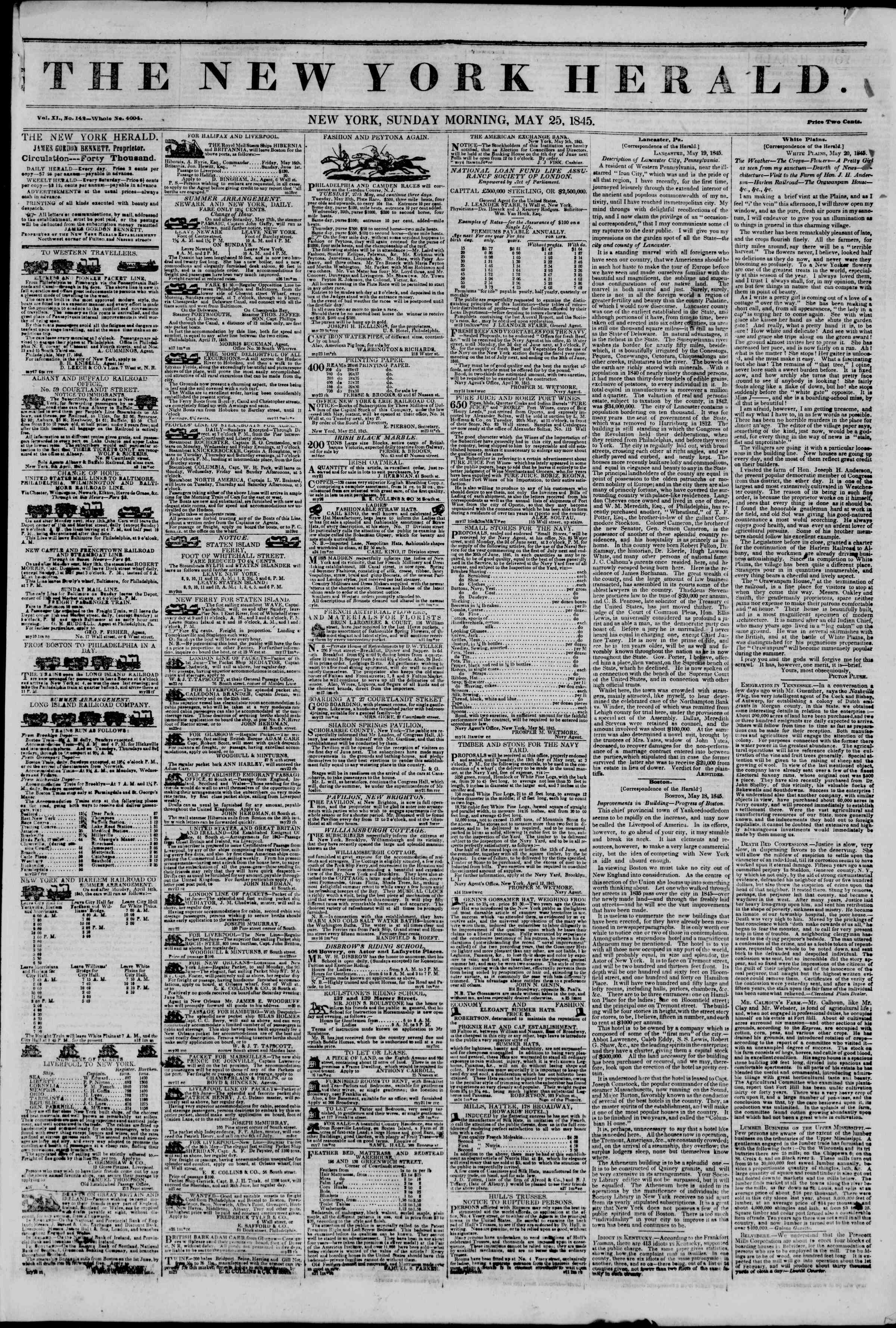 Newspaper of The New York Herald dated May 25, 1845 Page 1
