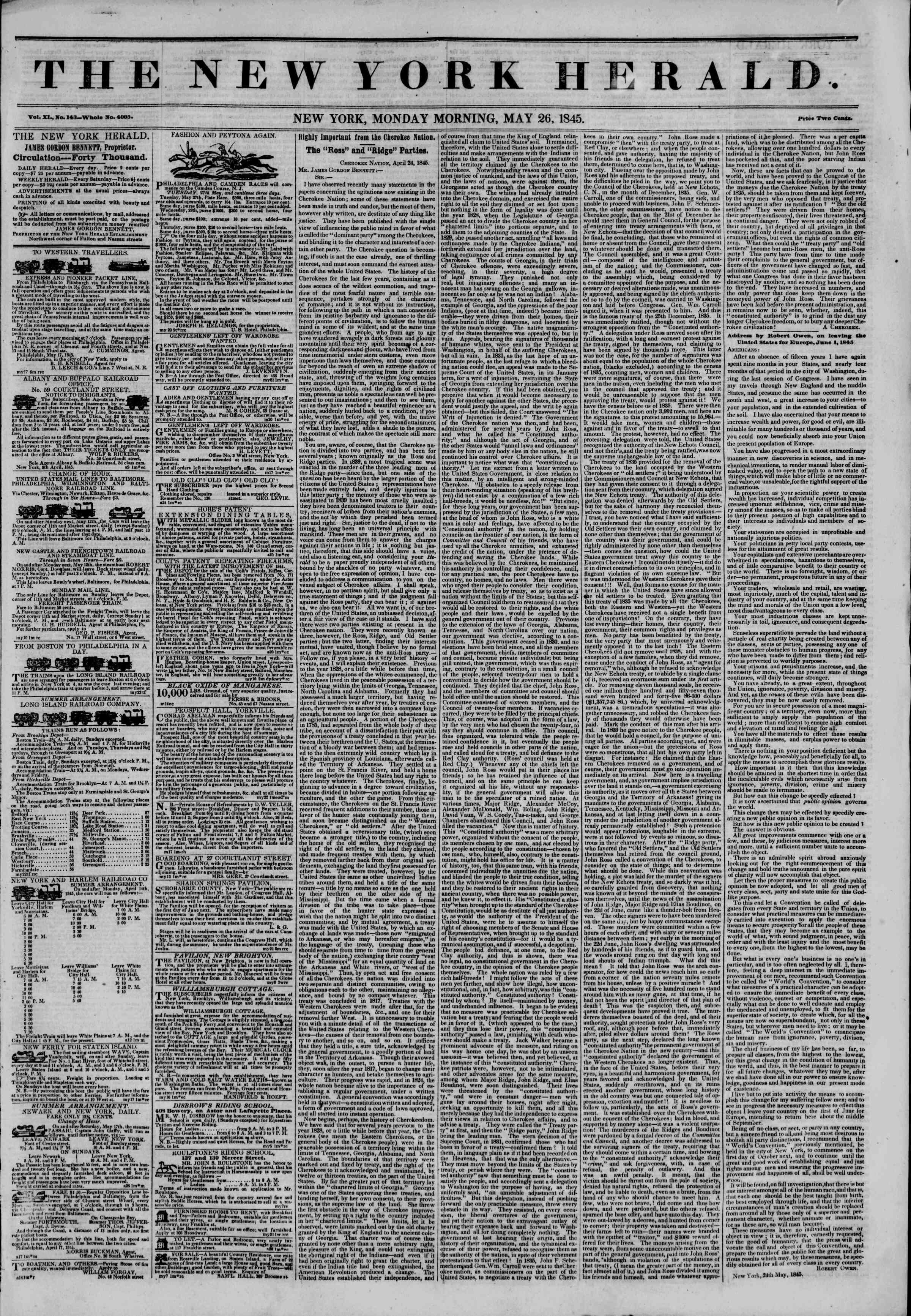 May 26, 1845 Tarihli The New York Herald Gazetesi Sayfa 1