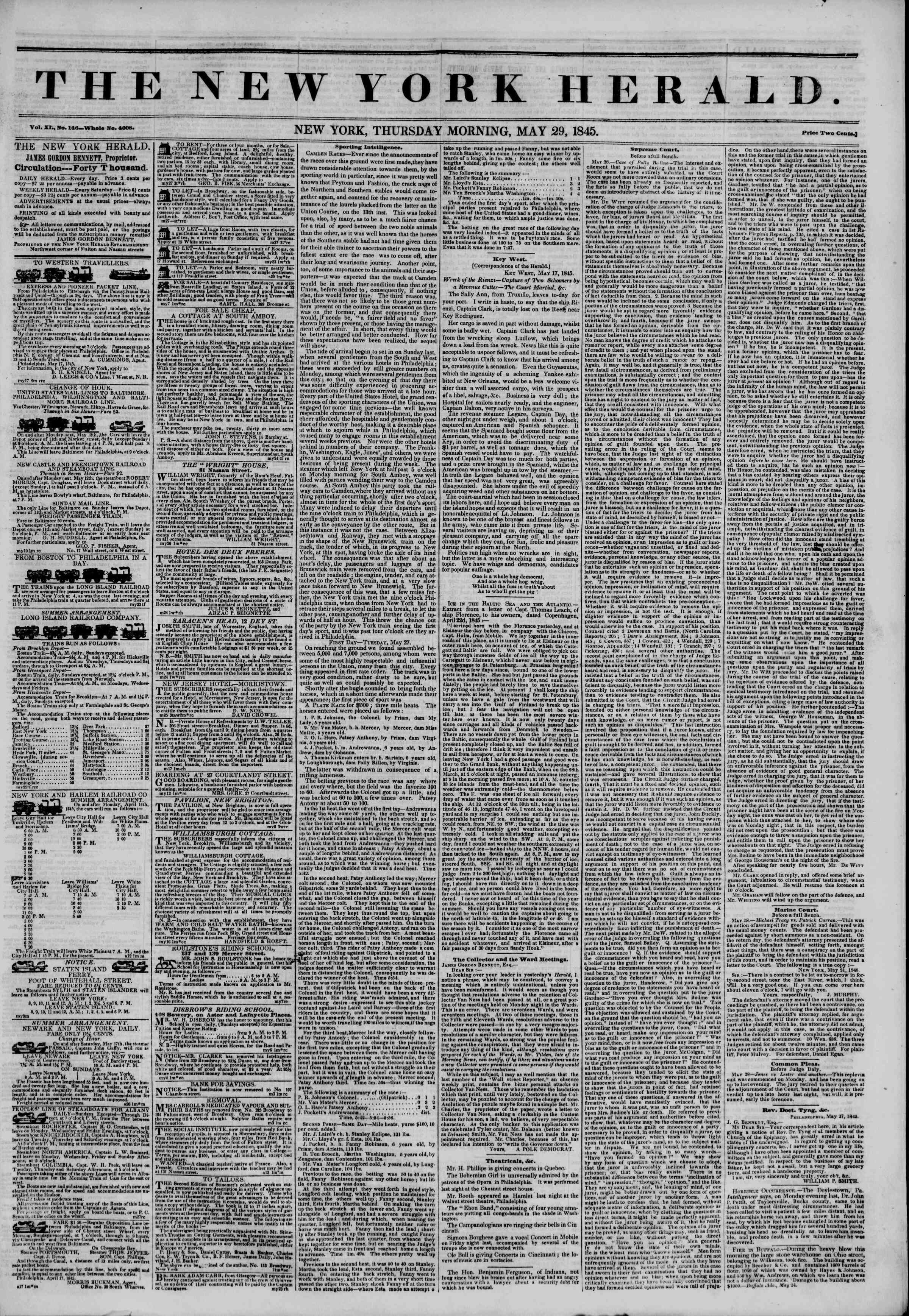 May 29, 1845 Tarihli The New York Herald Gazetesi Sayfa 1