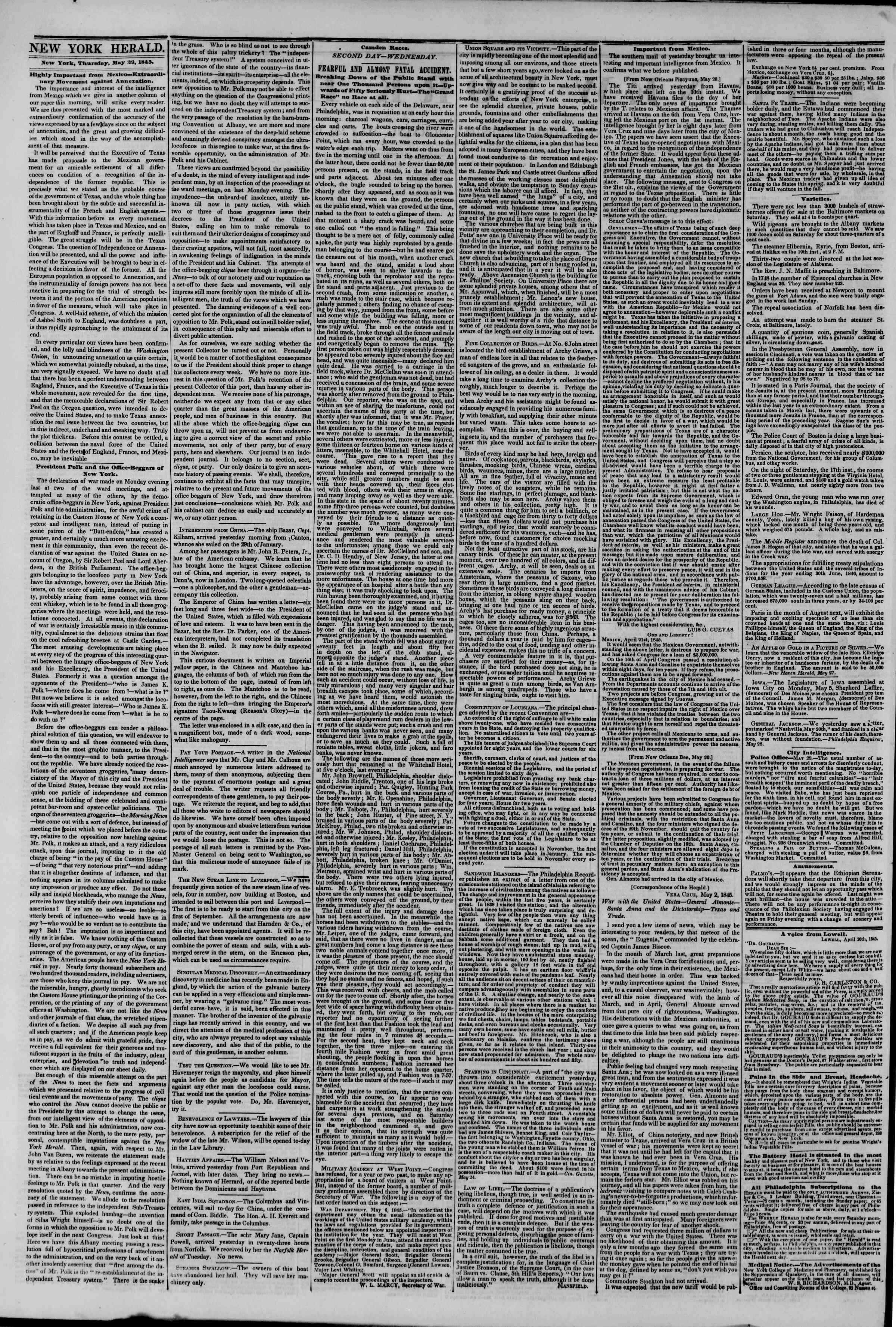 Newspaper of The New York Herald dated May 29, 1845 Page 2