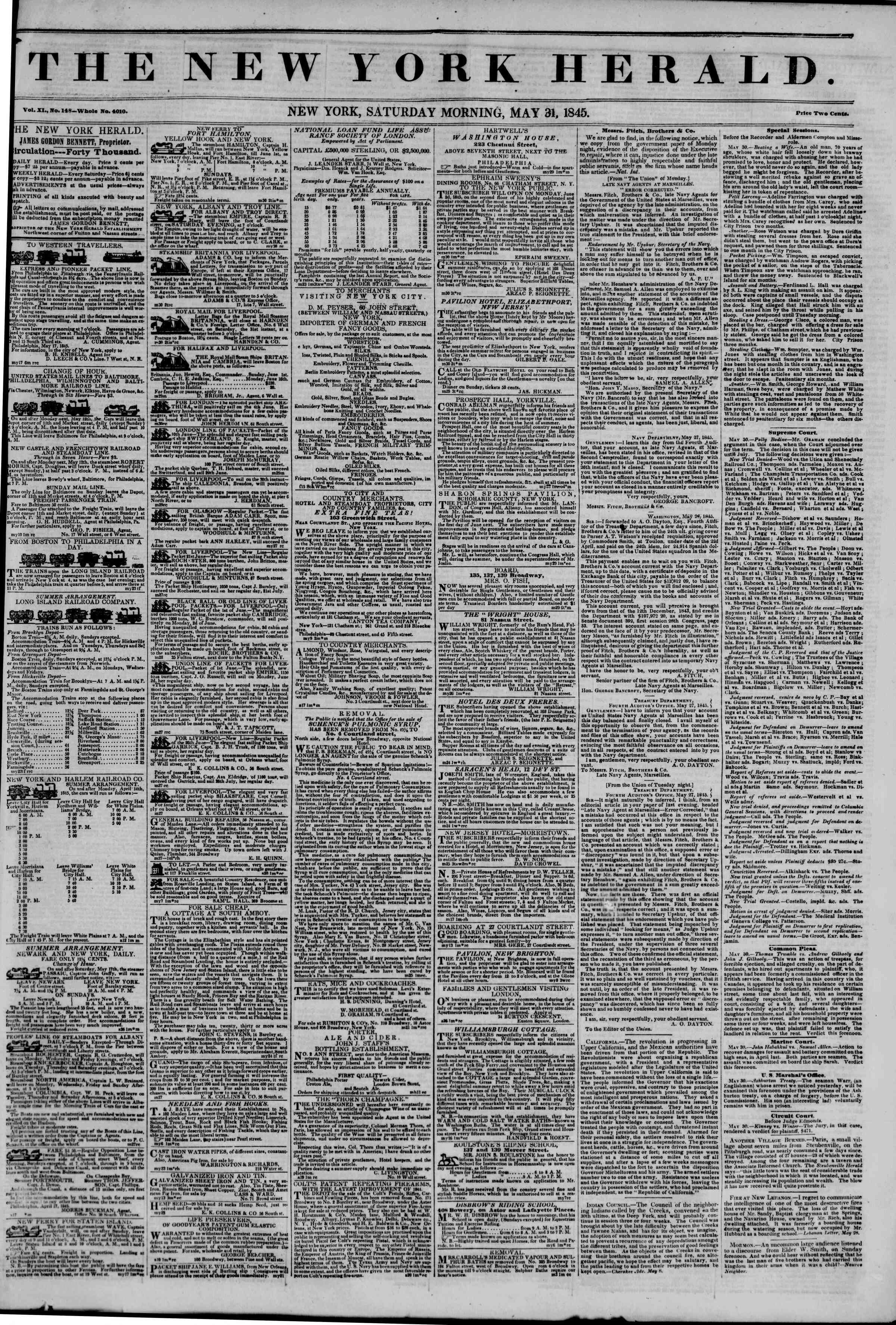 Newspaper of The New York Herald dated May 31, 1845 Page 1