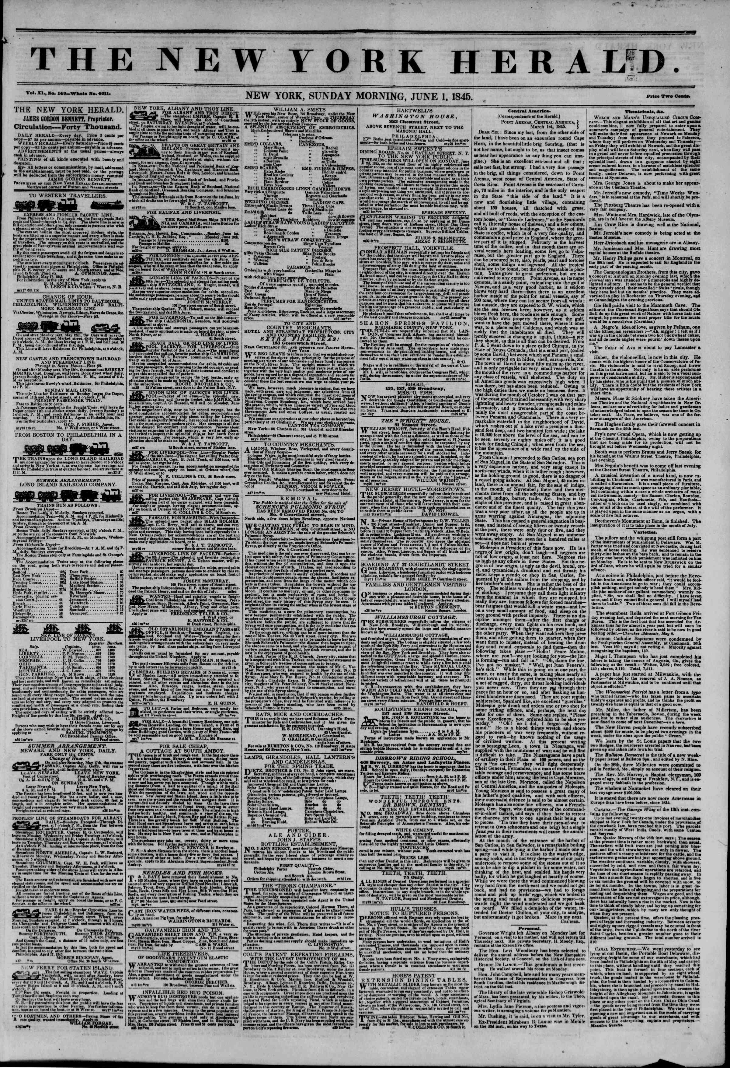 Newspaper of The New York Herald dated June 1, 1845 Page 1
