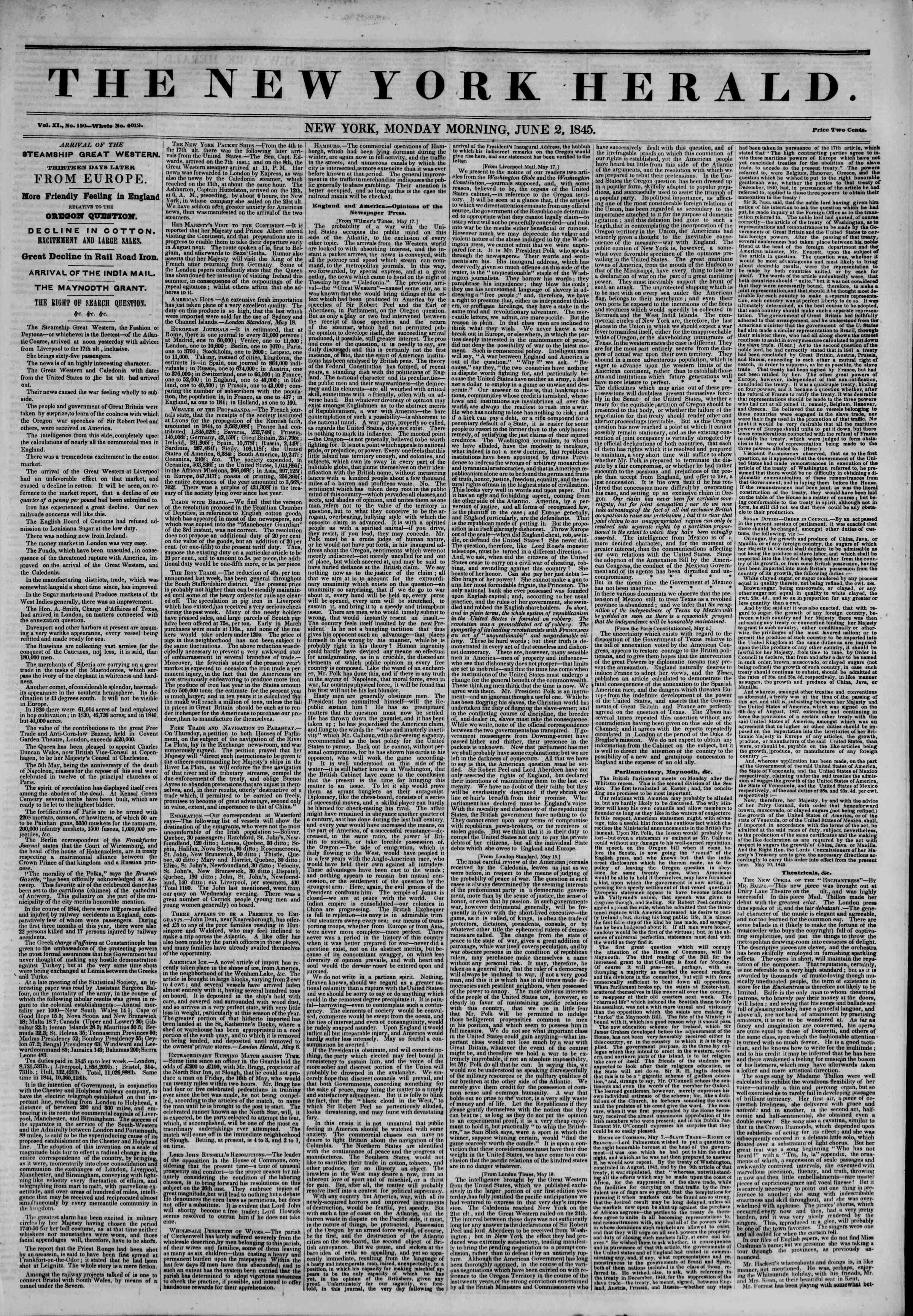 June 2, 1845 Tarihli The New York Herald Gazetesi Sayfa 1