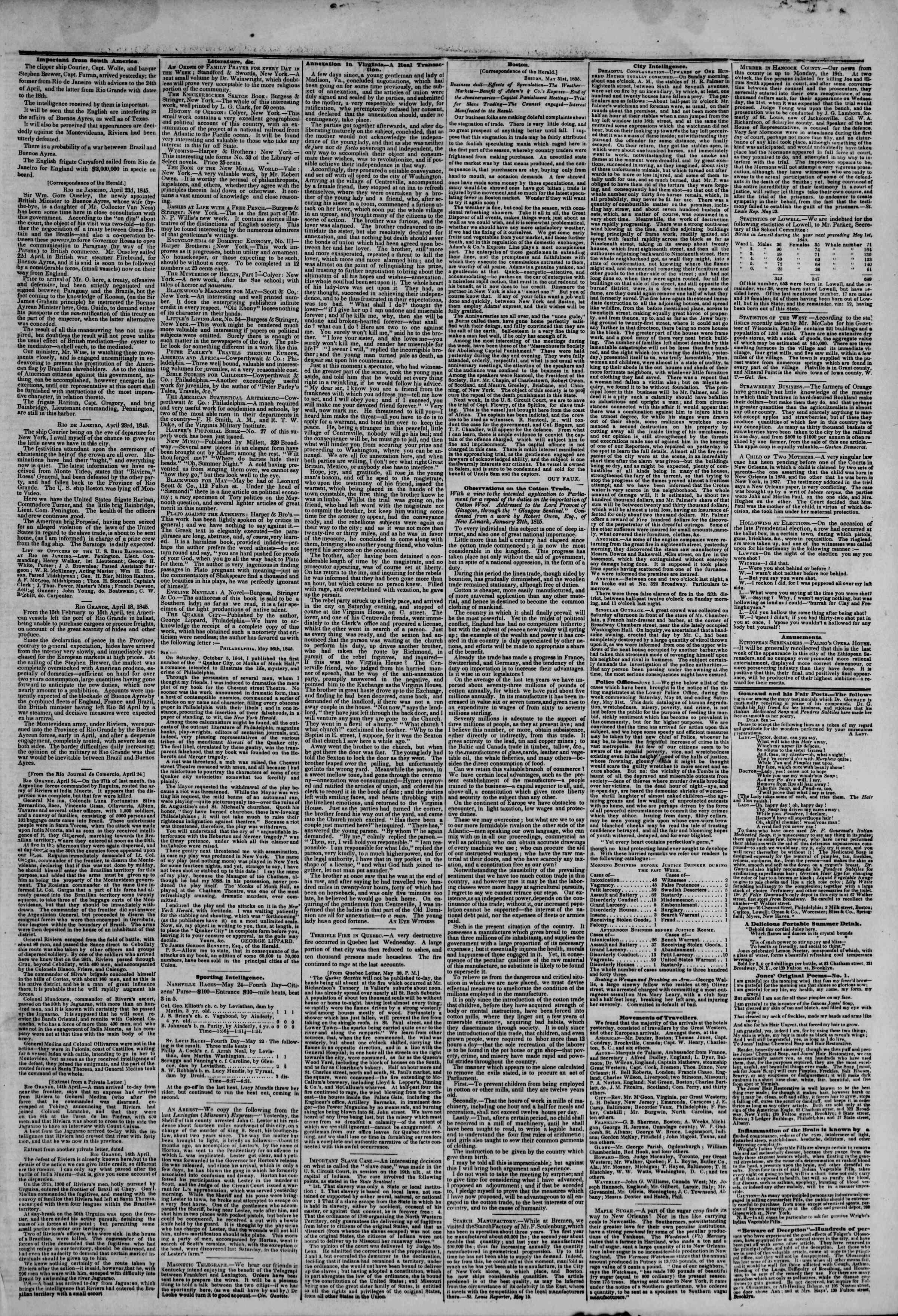 June 2, 1845 Tarihli The New York Herald Gazetesi Sayfa 3