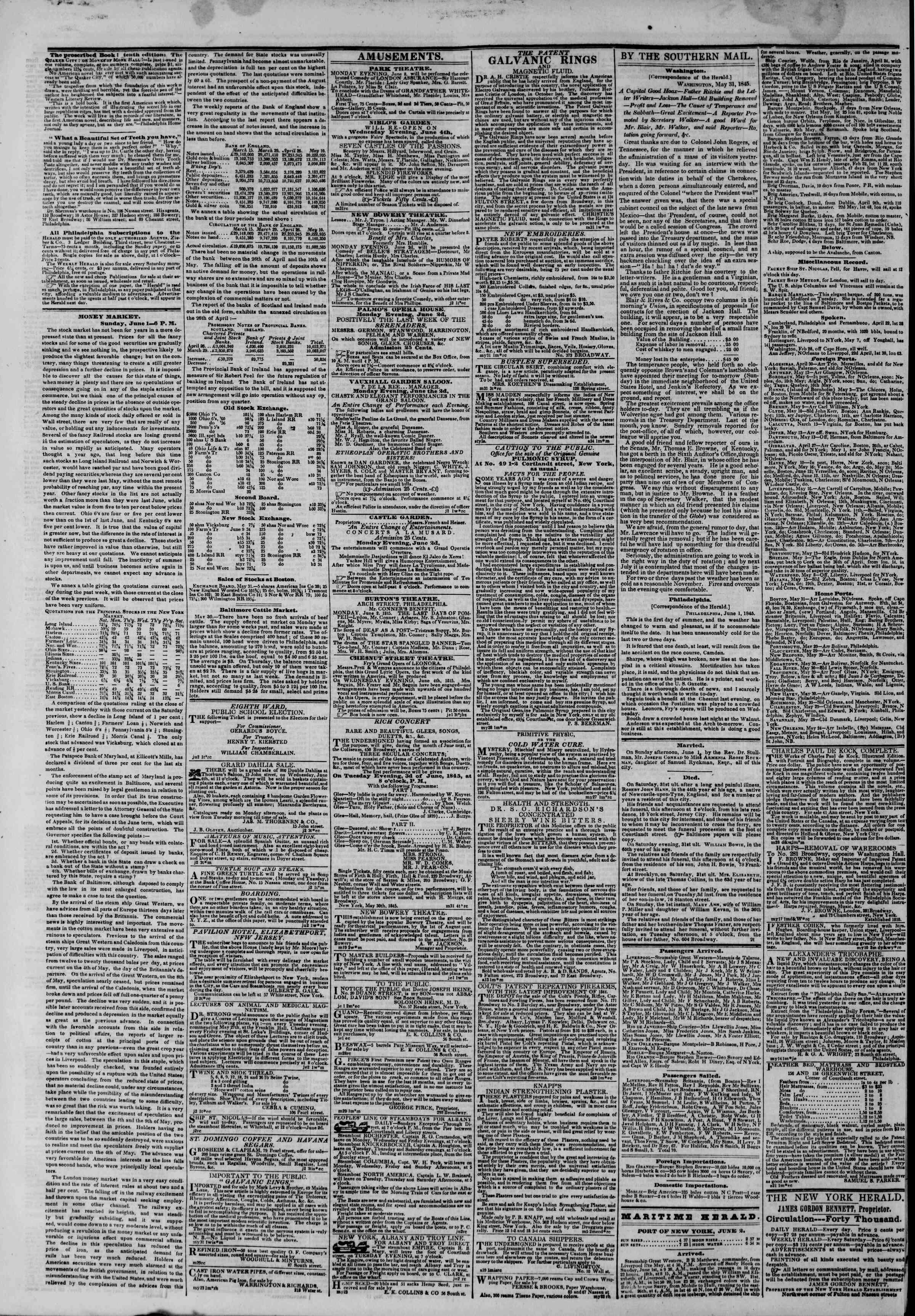 Newspaper of The New York Herald dated 2 Haziran 1845 Page 4