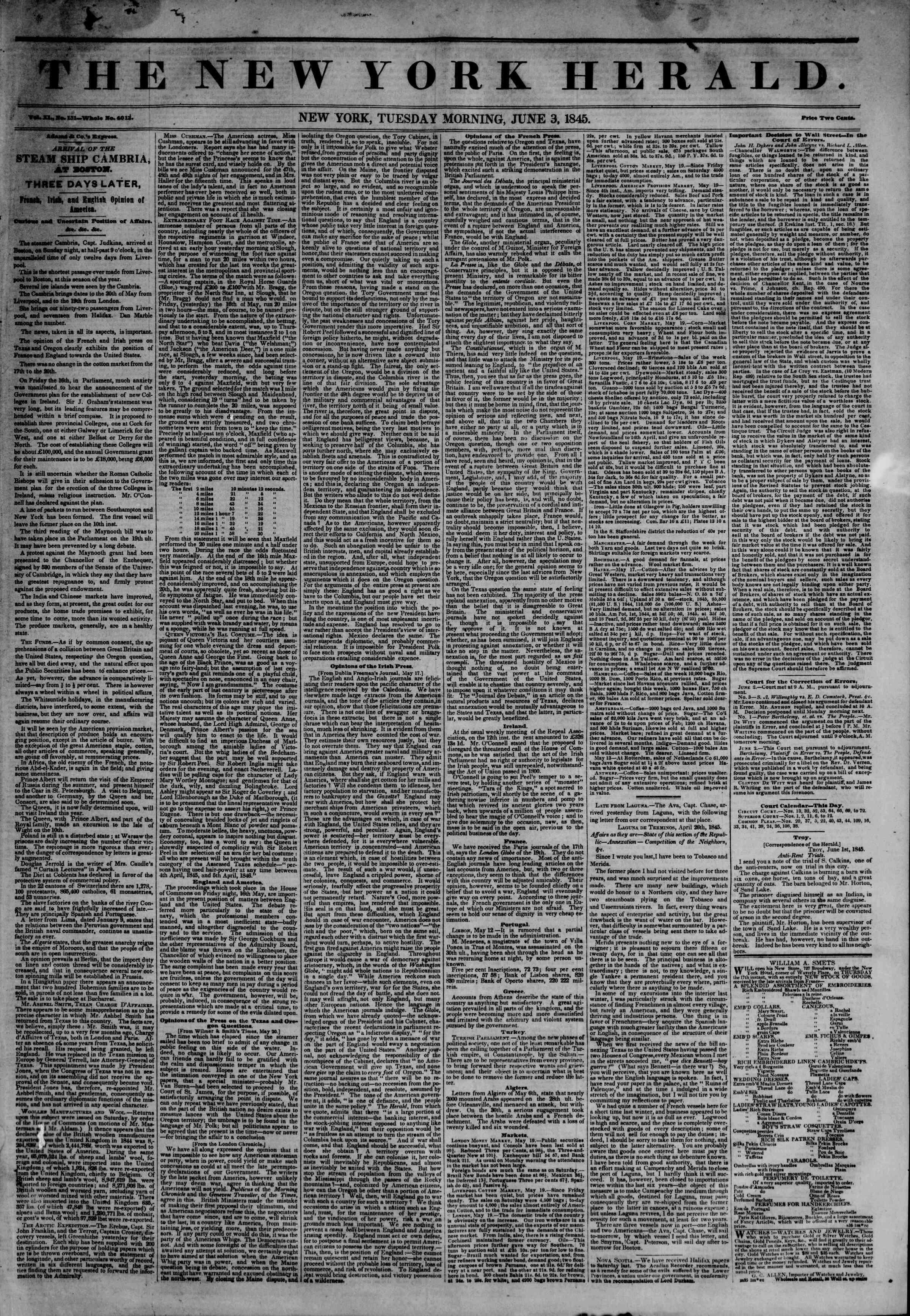 June 3, 1845 Tarihli The New York Herald Gazetesi Sayfa 1