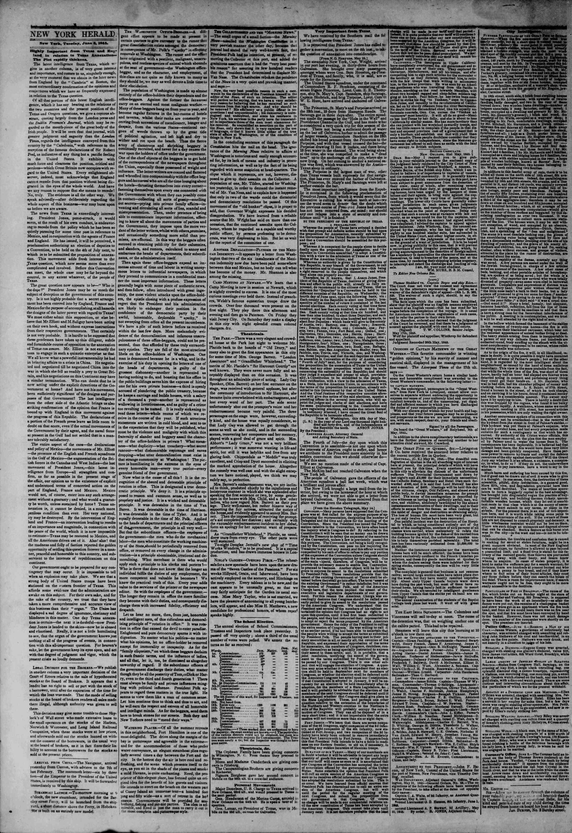 June 3, 1845 Tarihli The New York Herald Gazetesi Sayfa 2