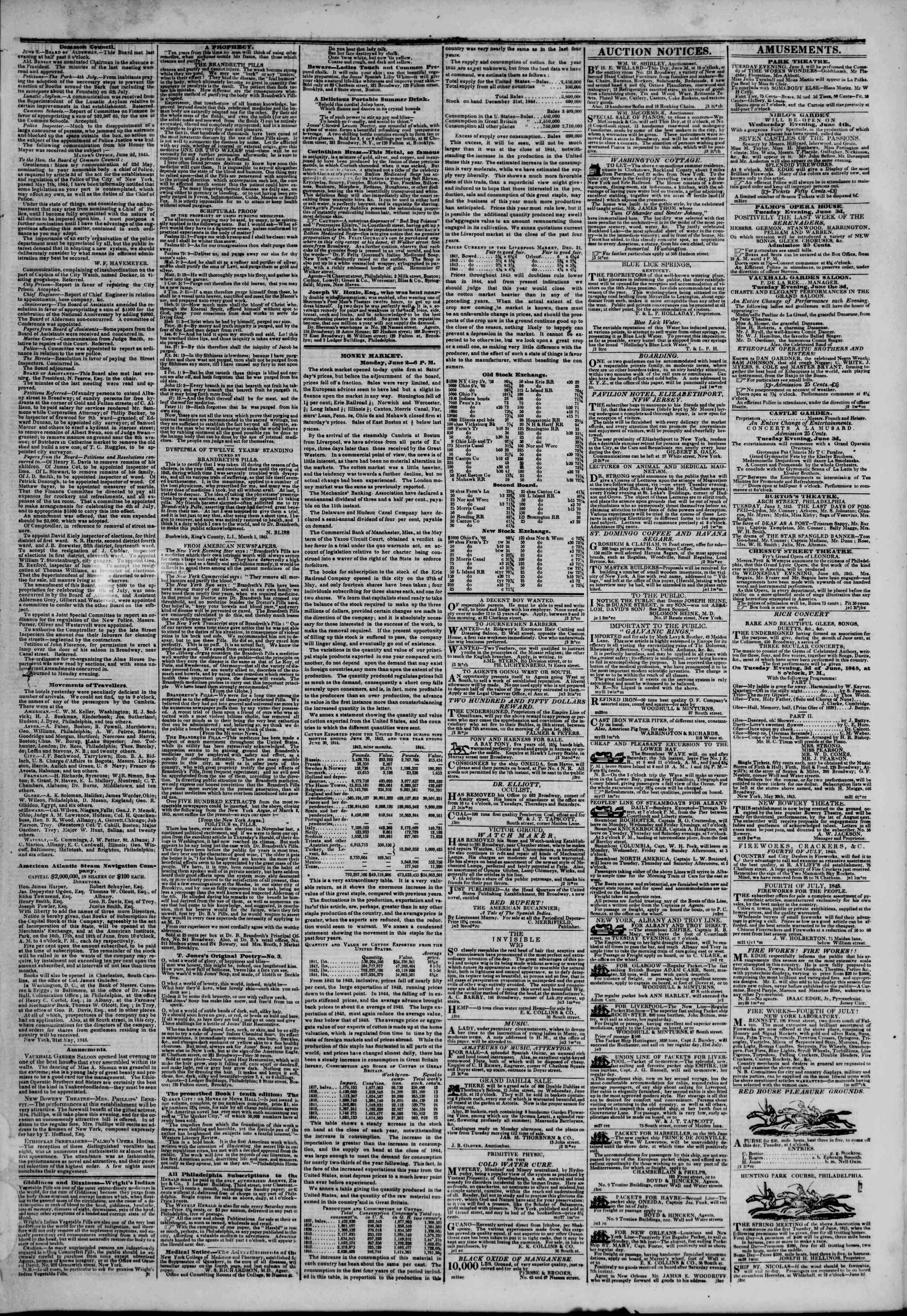 Newspaper of The New York Herald dated June 3, 1845 Page 3