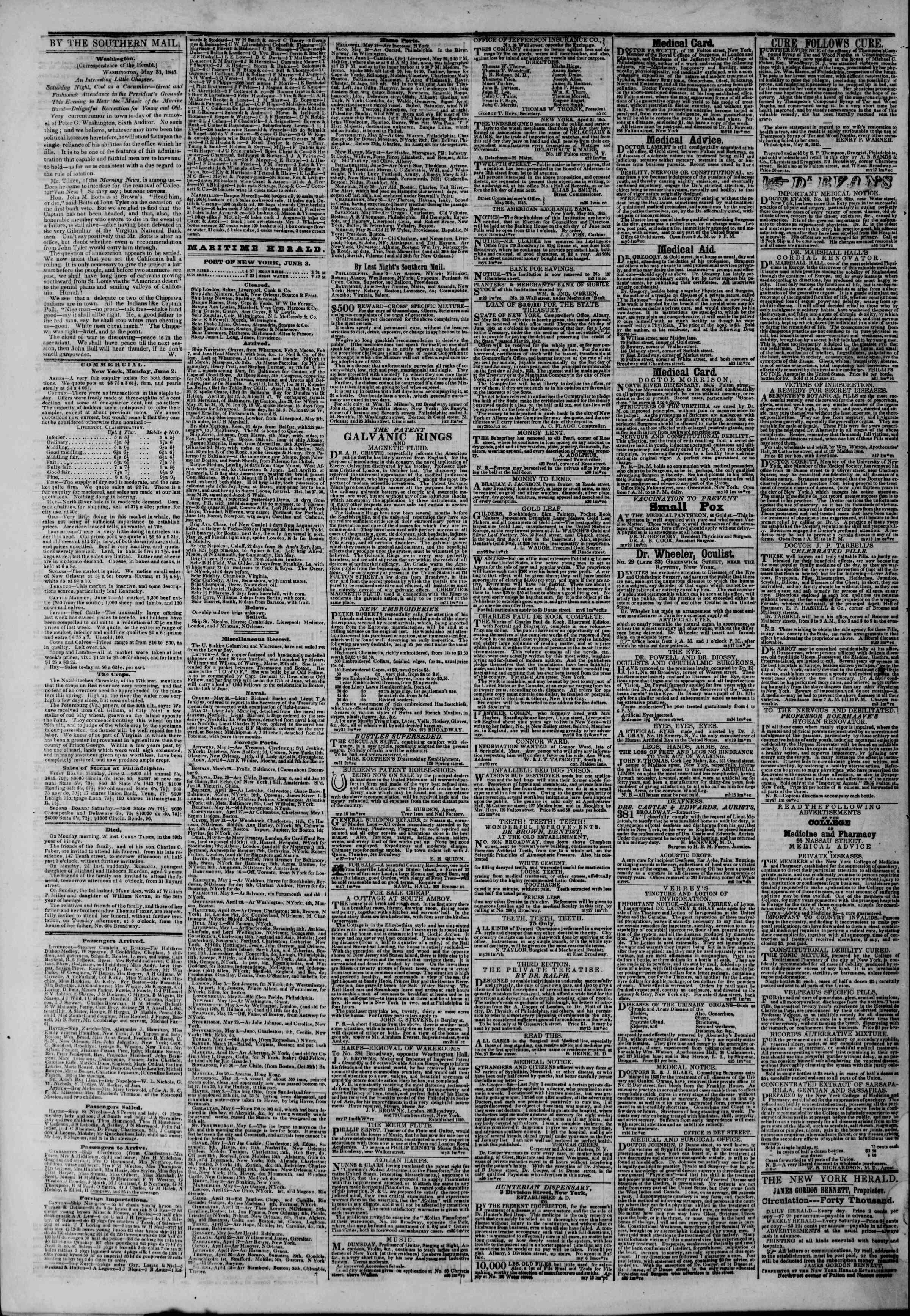 June 3, 1845 Tarihli The New York Herald Gazetesi Sayfa 4