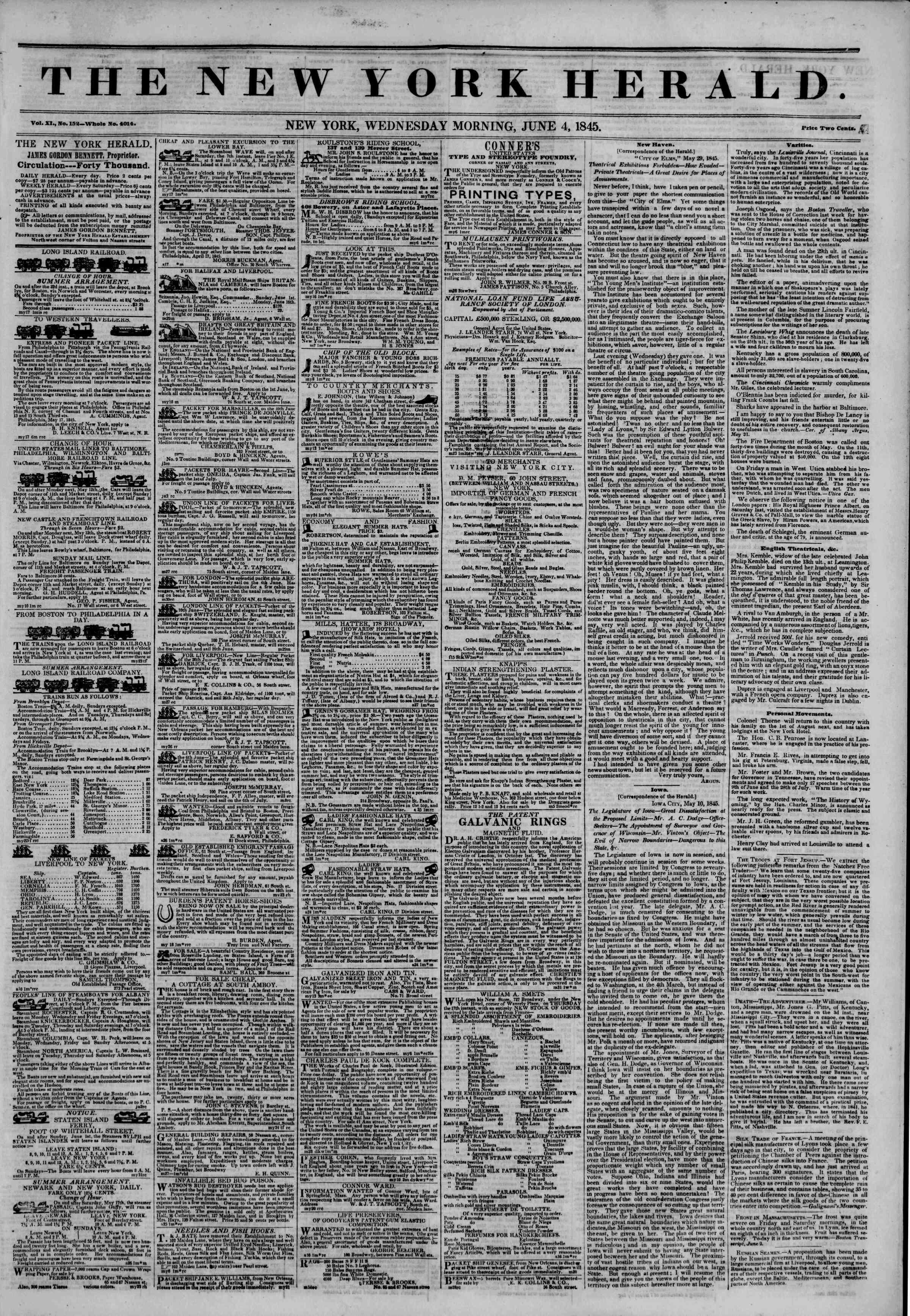June 4, 1845 Tarihli The New York Herald Gazetesi Sayfa 1