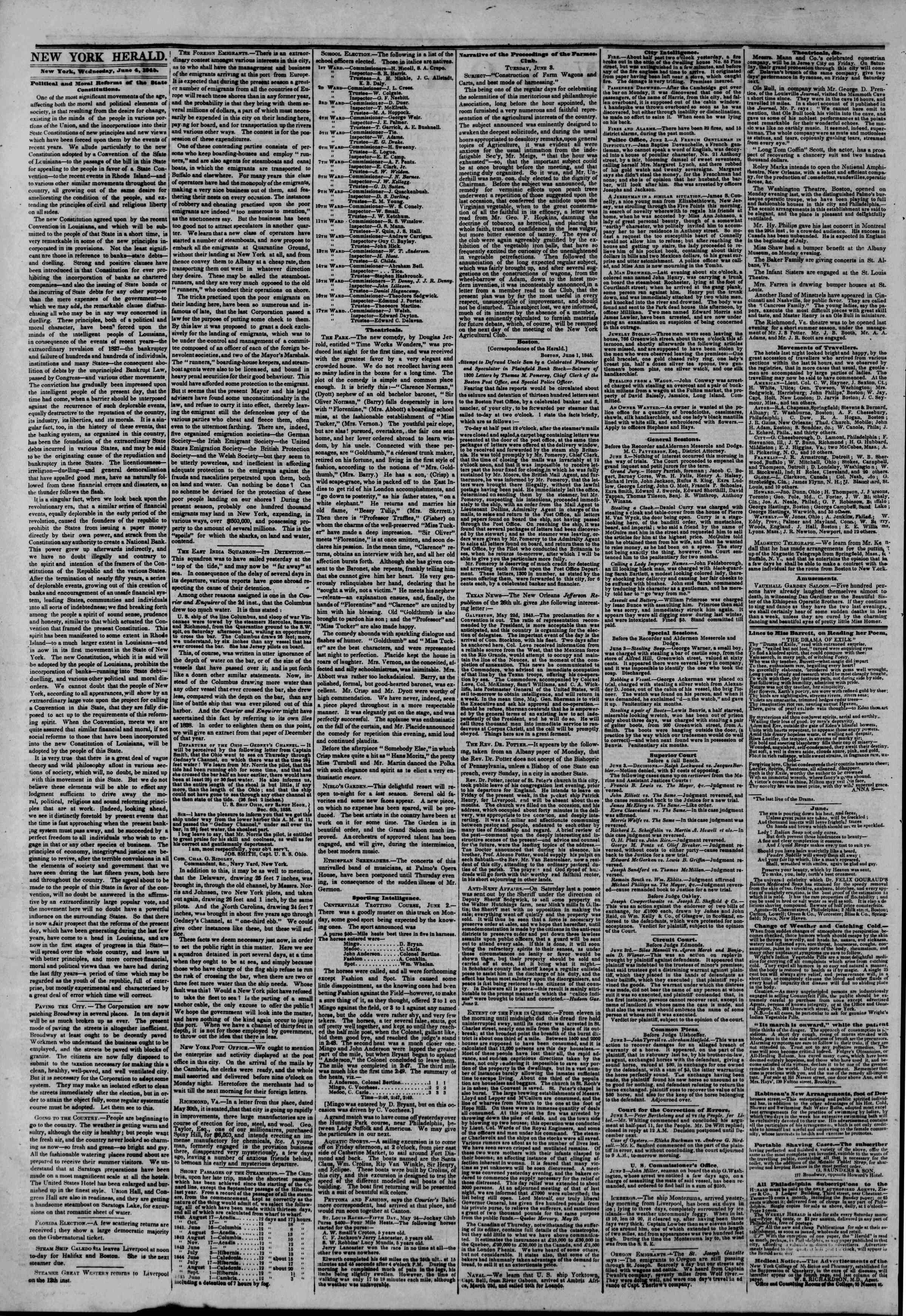 Newspaper of The New York Herald dated June 4, 1845 Page 3