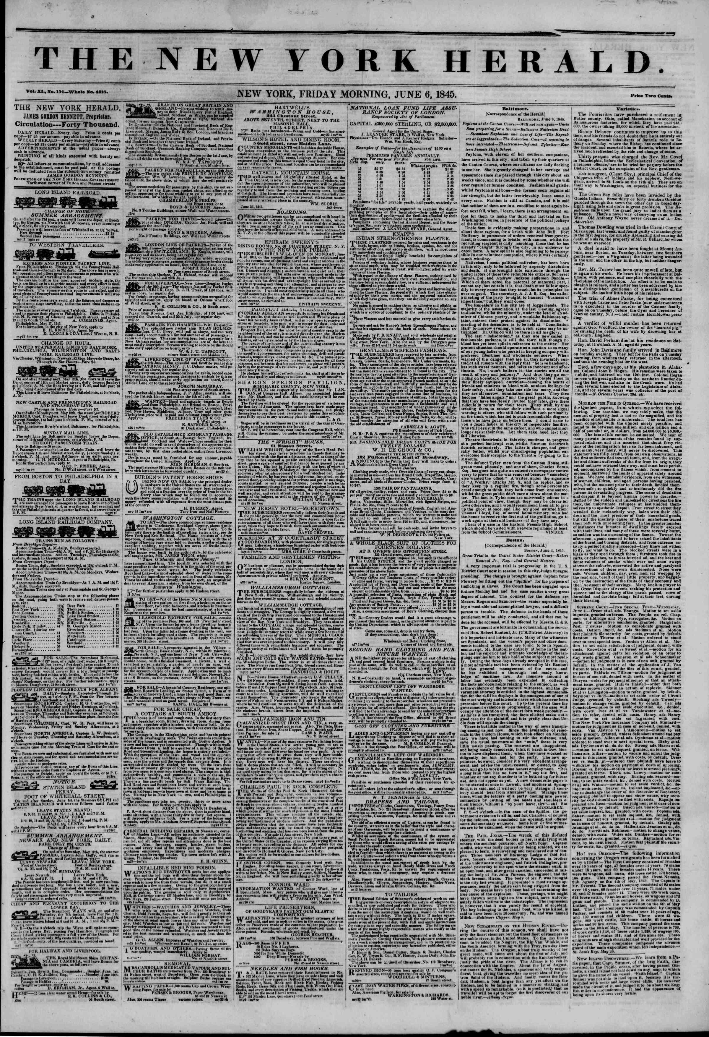 June 6, 1845 Tarihli The New York Herald Gazetesi Sayfa 1