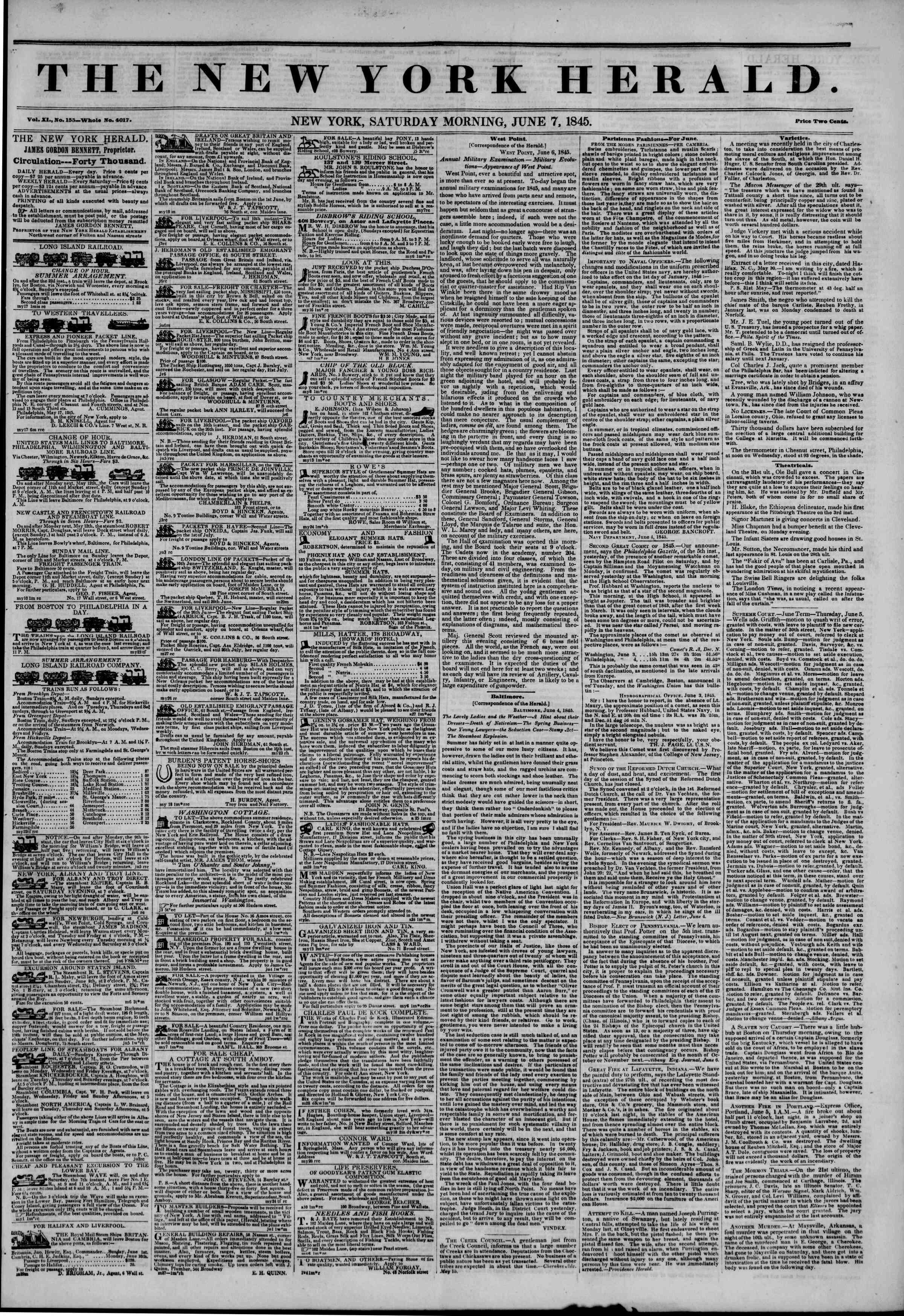 June 7, 1845 Tarihli The New York Herald Gazetesi Sayfa 1