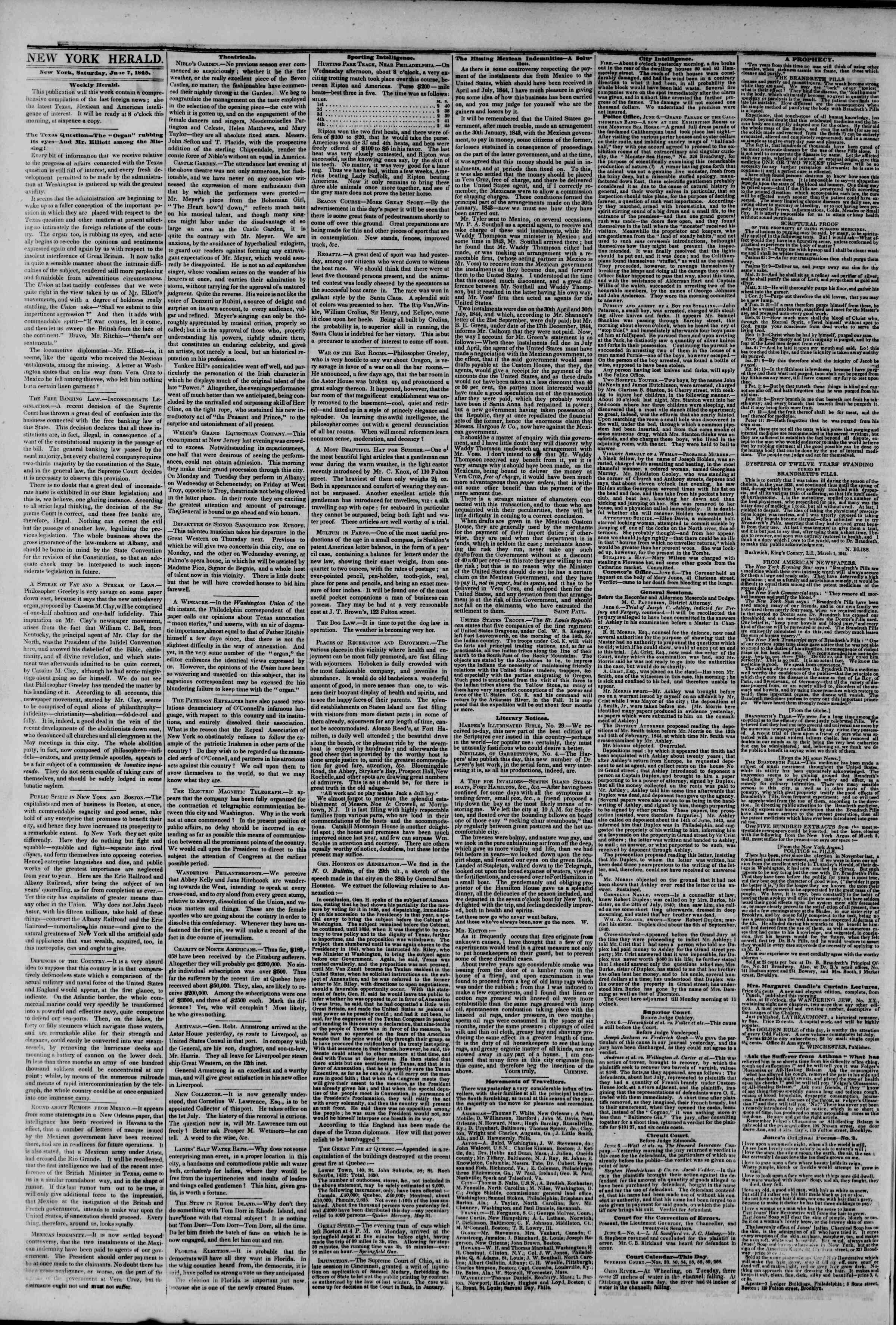June 7, 1845 Tarihli The New York Herald Gazetesi Sayfa 2