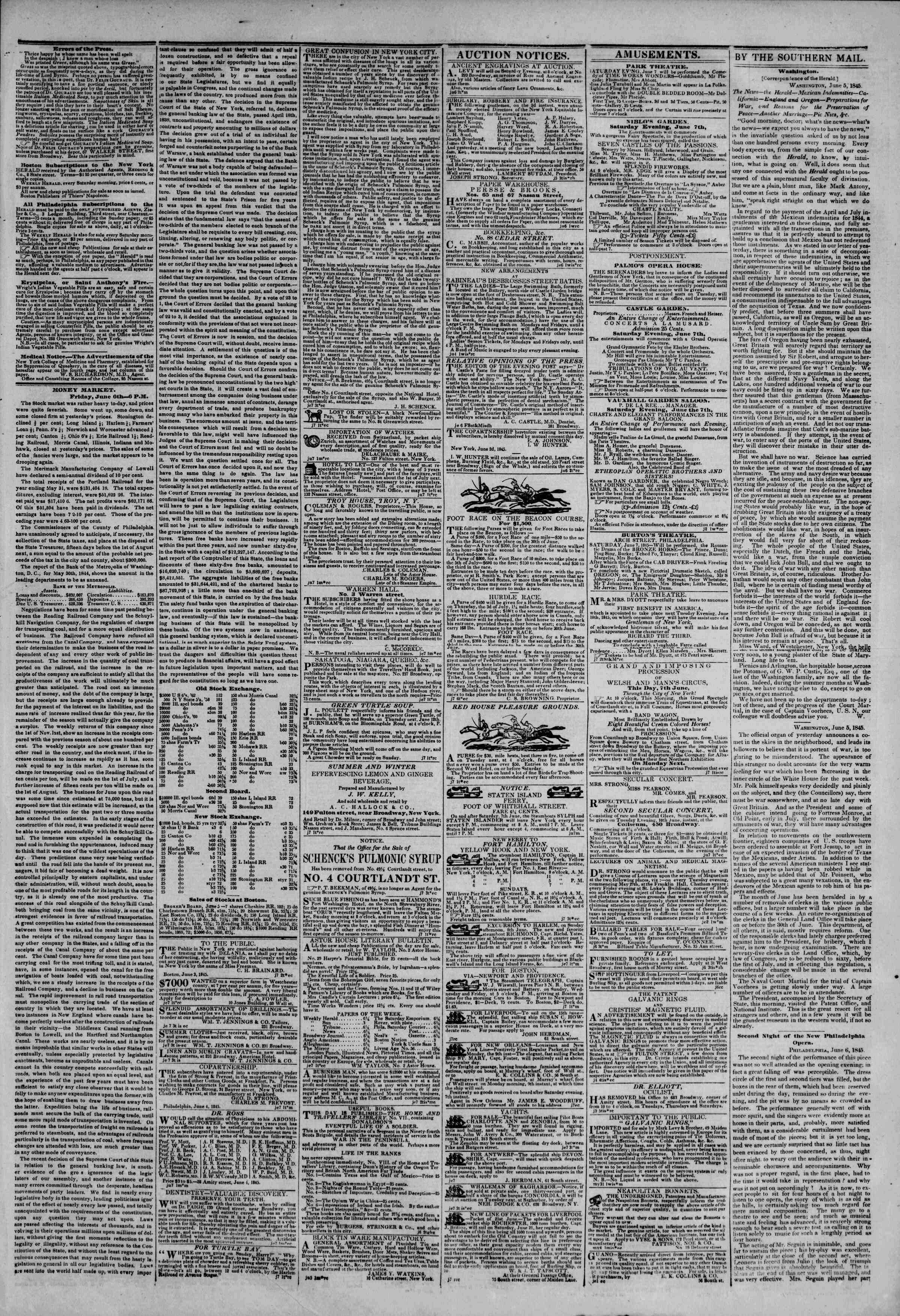 June 7, 1845 Tarihli The New York Herald Gazetesi Sayfa 3