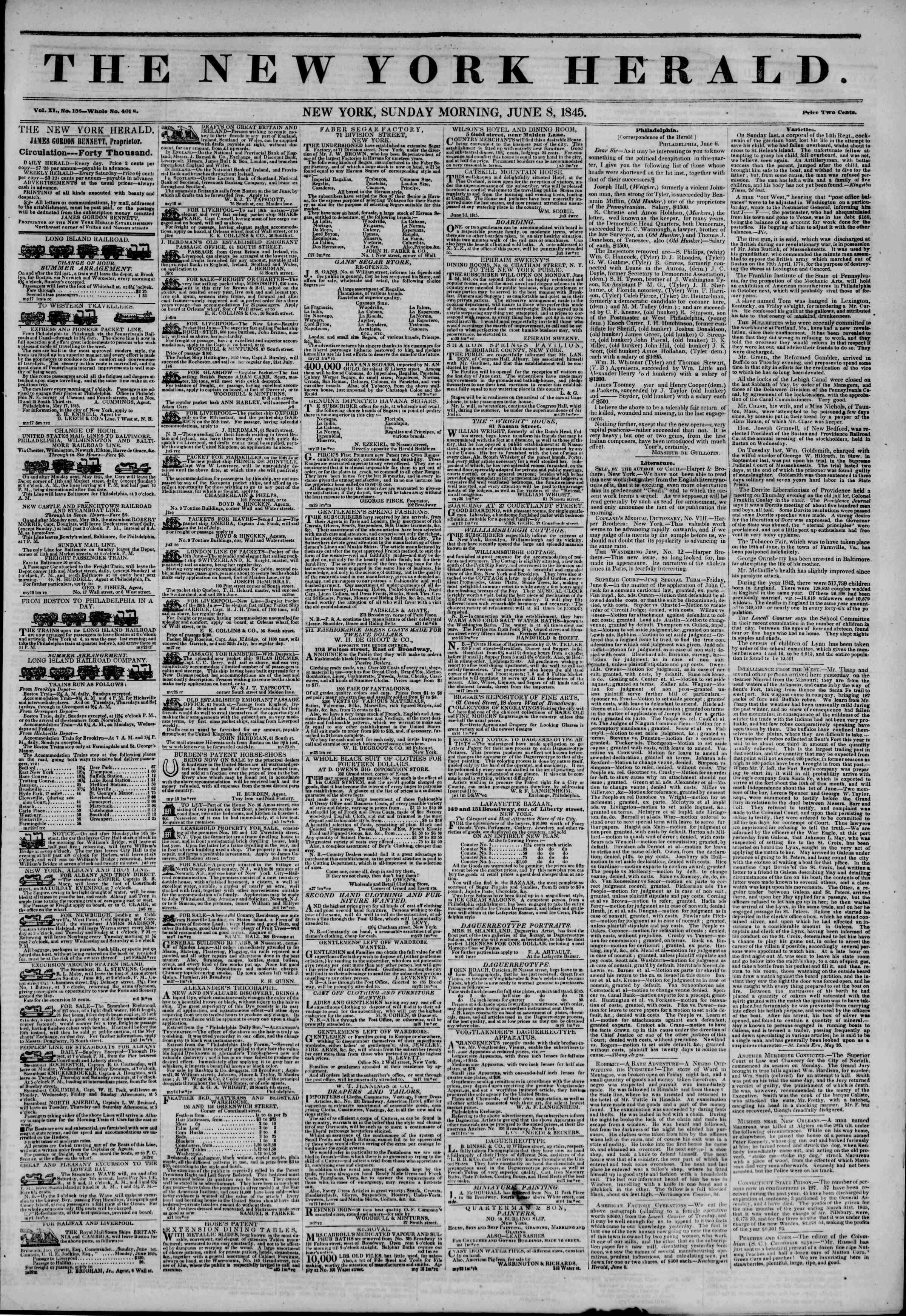 June 8, 1845 Tarihli The New York Herald Gazetesi Sayfa 1