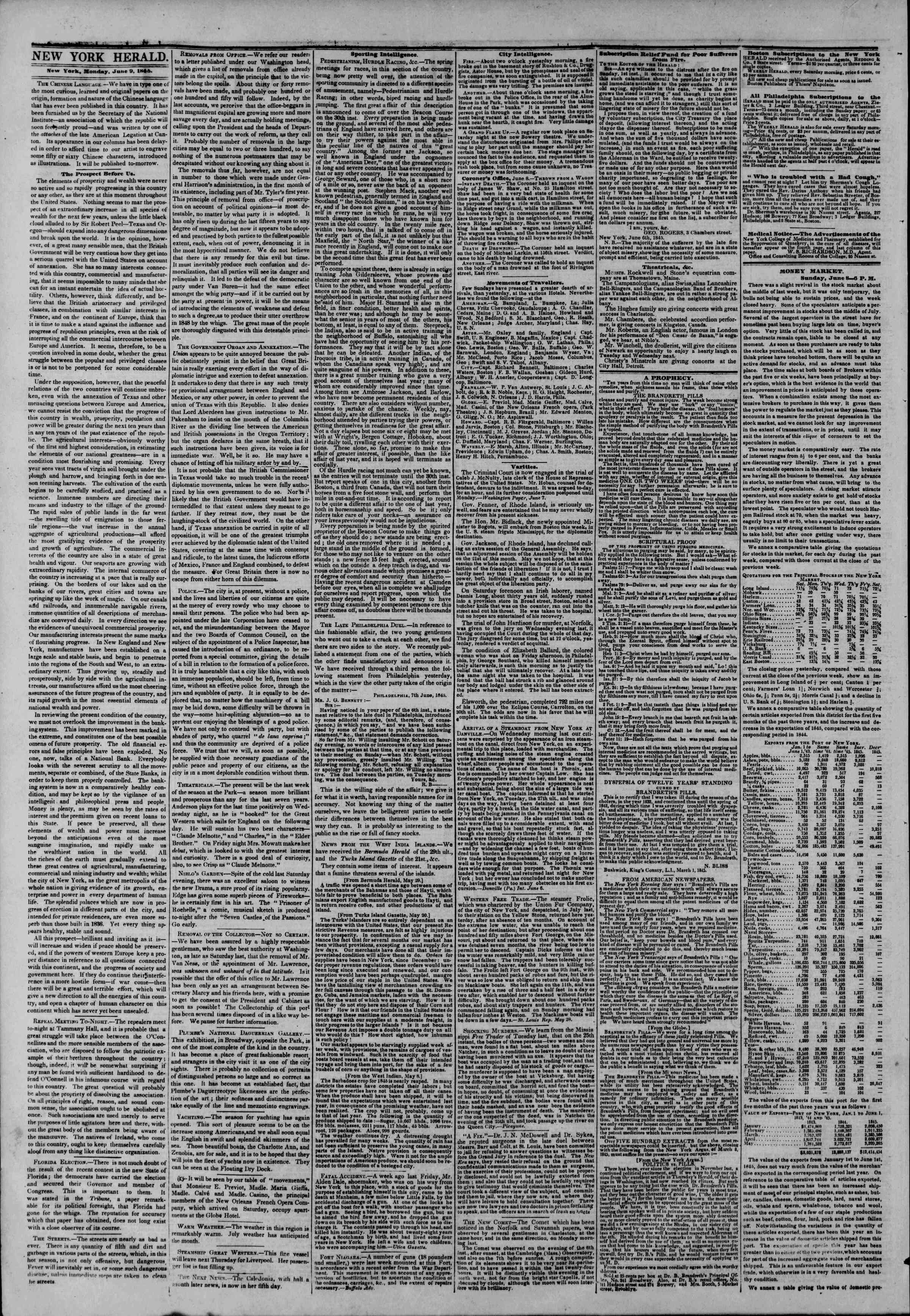Newspaper of The New York Herald dated June 9, 1845 Page 2
