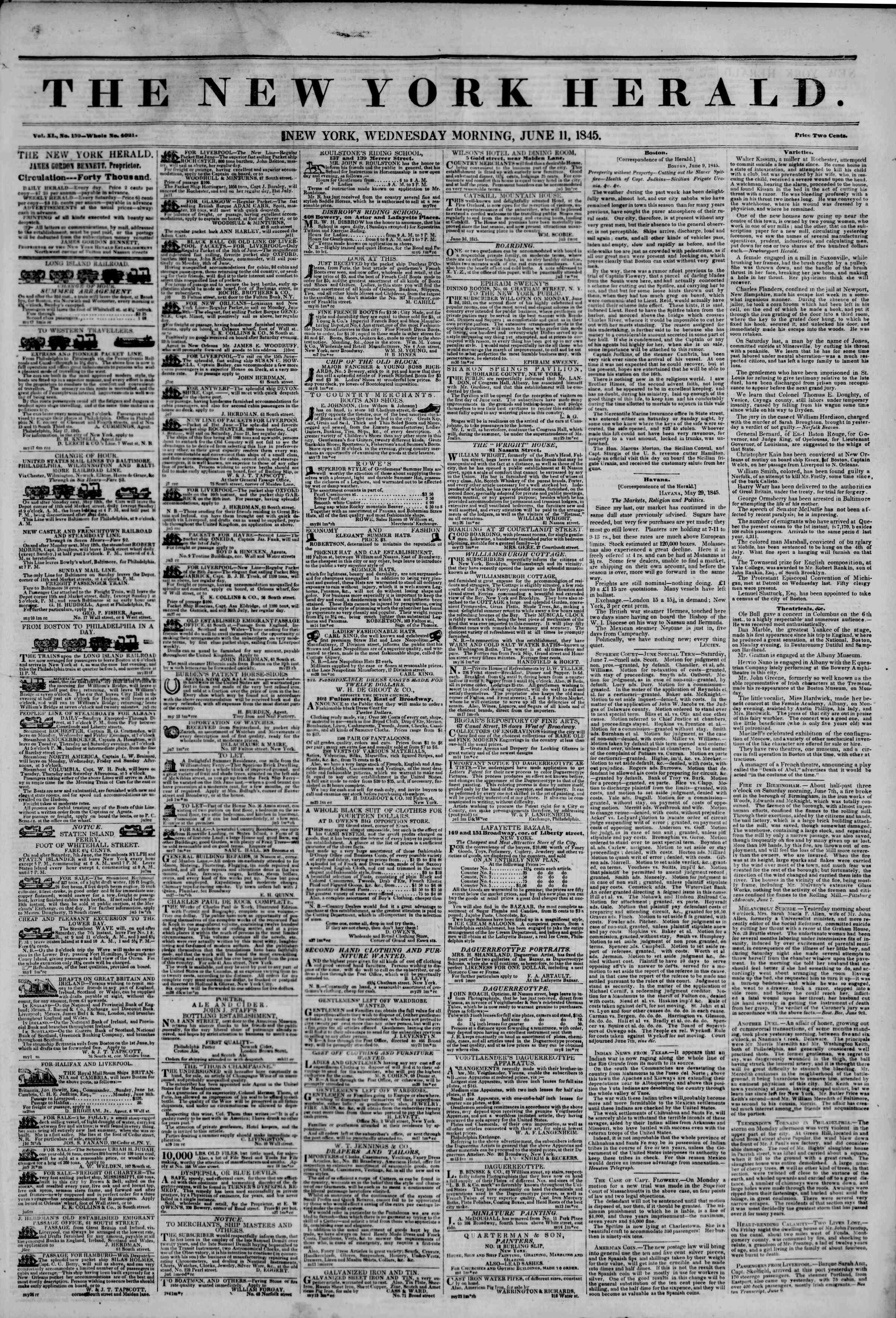 June 11, 1845 Tarihli The New York Herald Gazetesi Sayfa 1