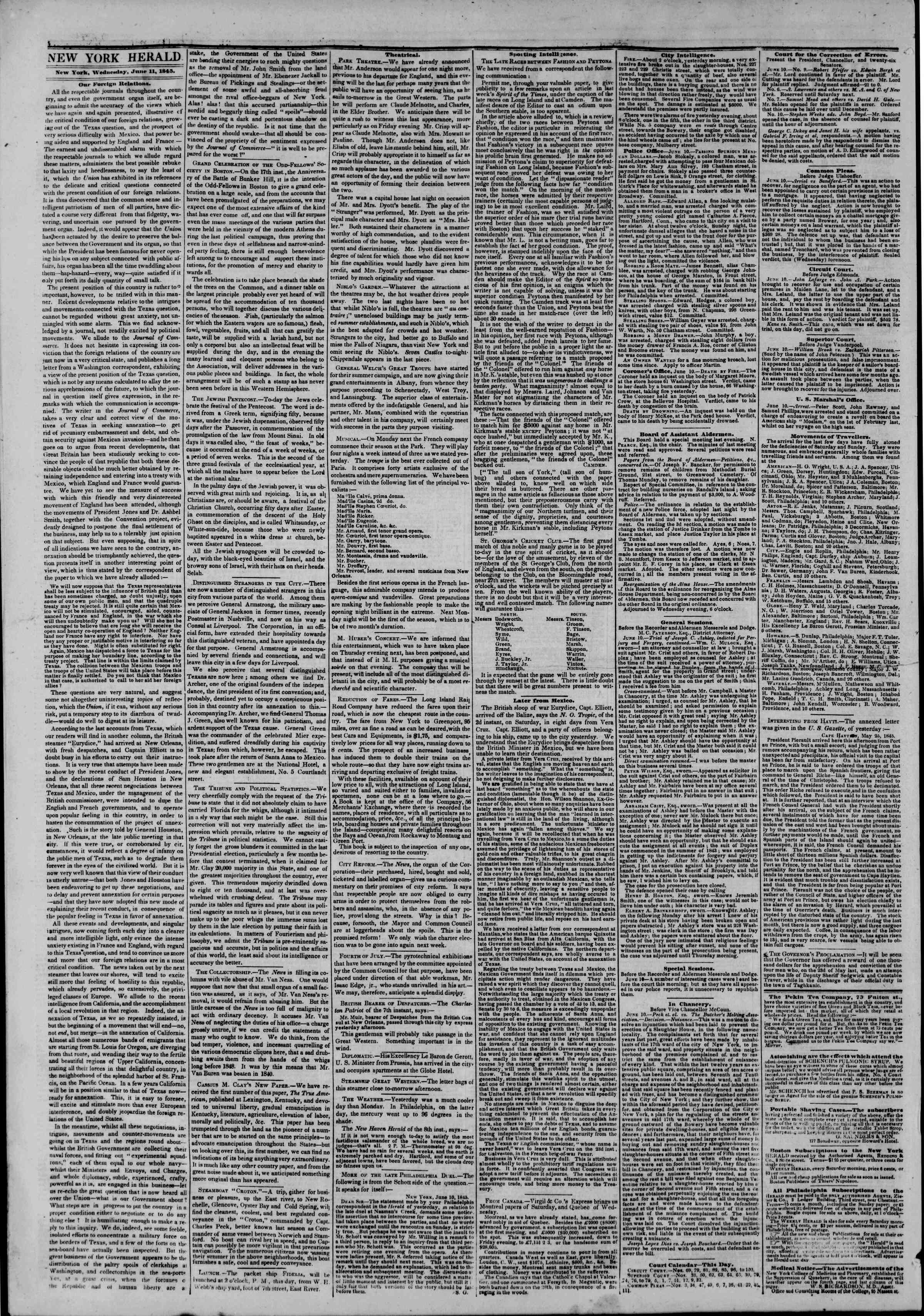 Newspaper of The New York Herald dated June 11, 1845 Page 2