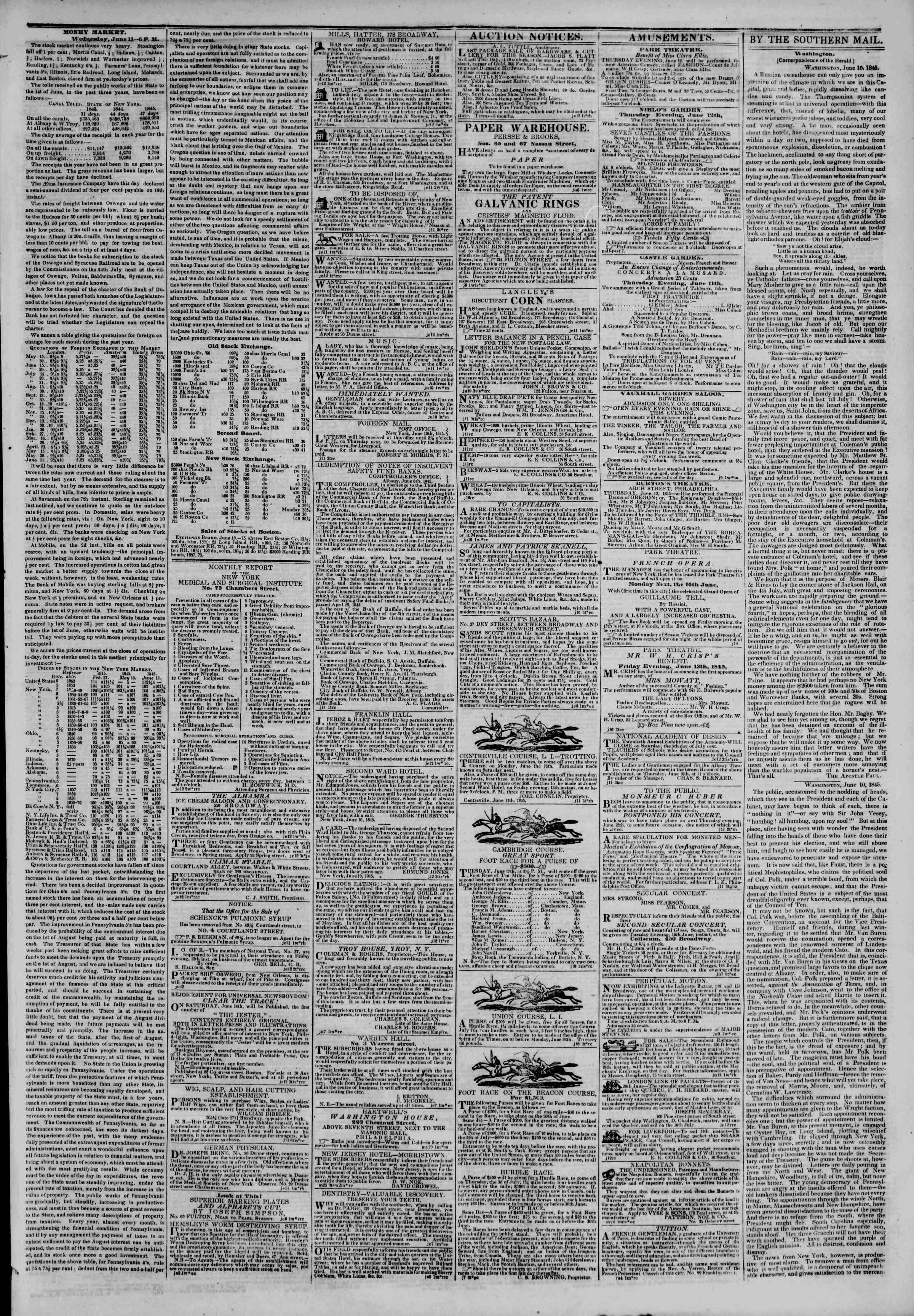 June 12, 1845 Tarihli The New York Herald Gazetesi Sayfa 3