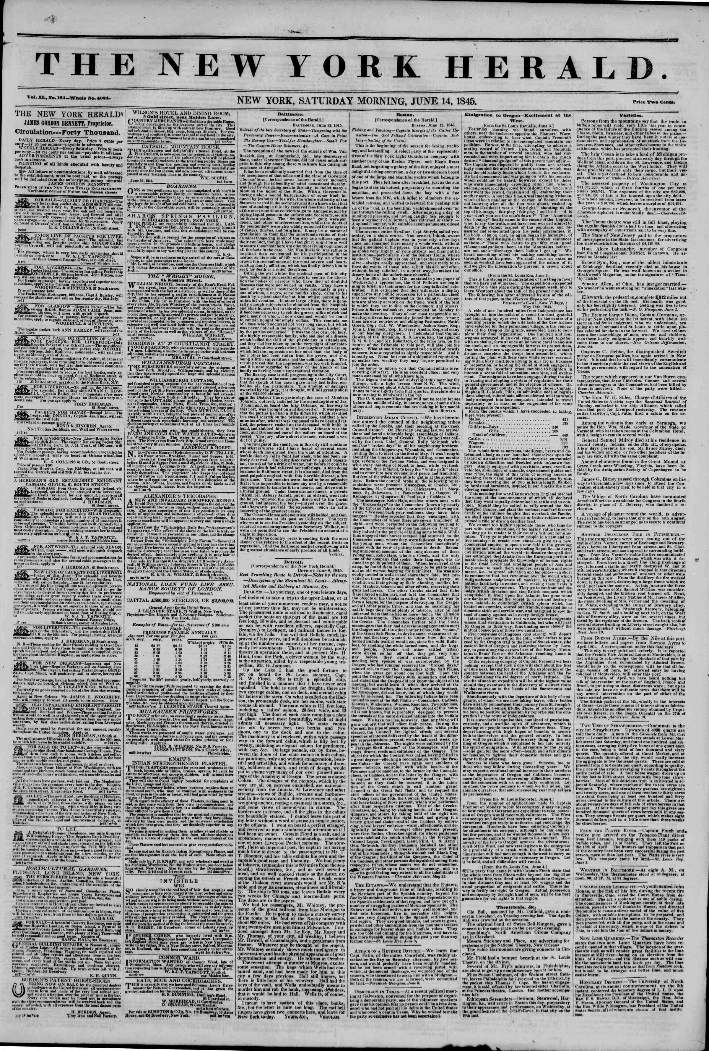 Newspaper of The New York Herald dated June 14, 1845 Page 1