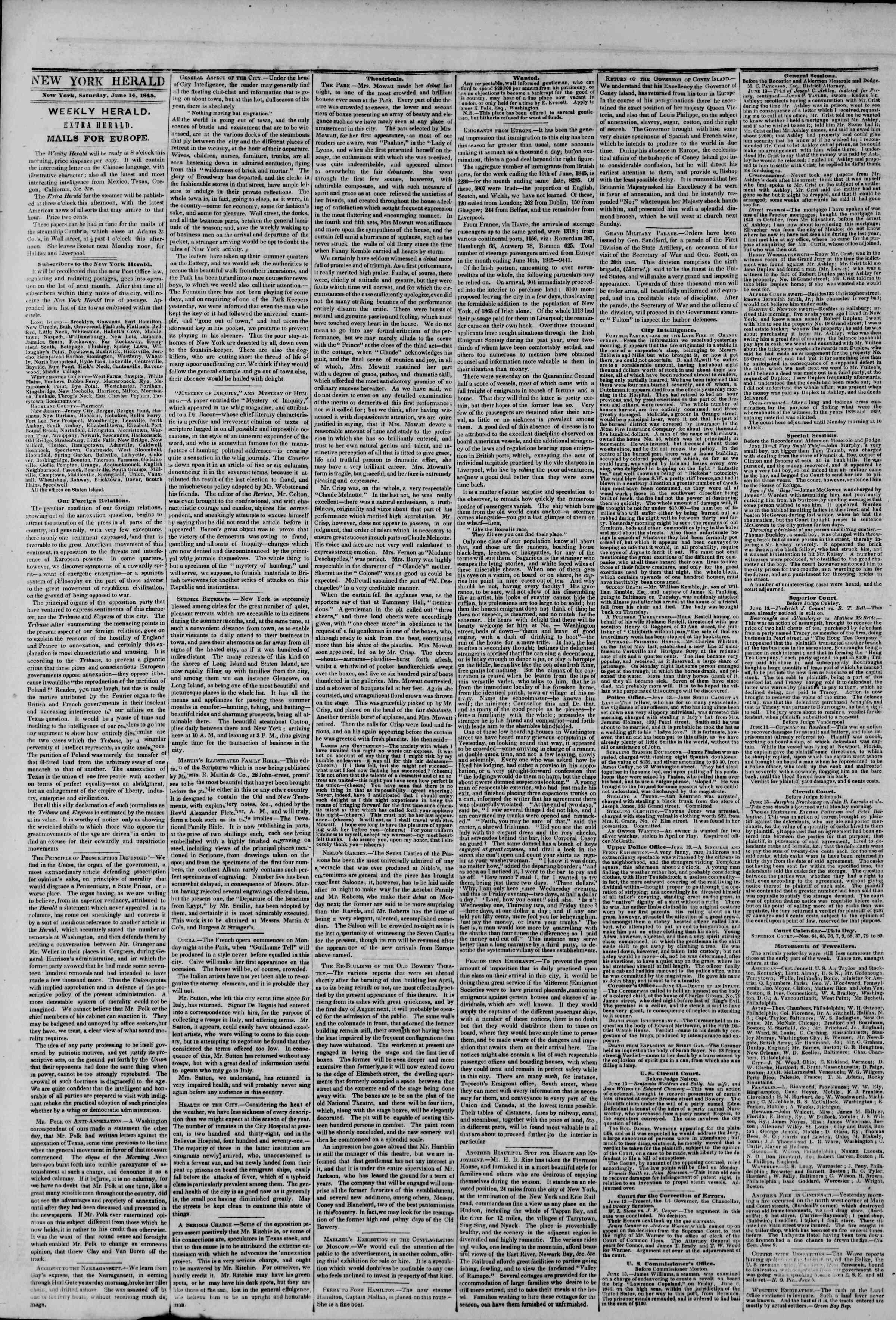 June 14, 1845 Tarihli The New York Herald Gazetesi Sayfa 2