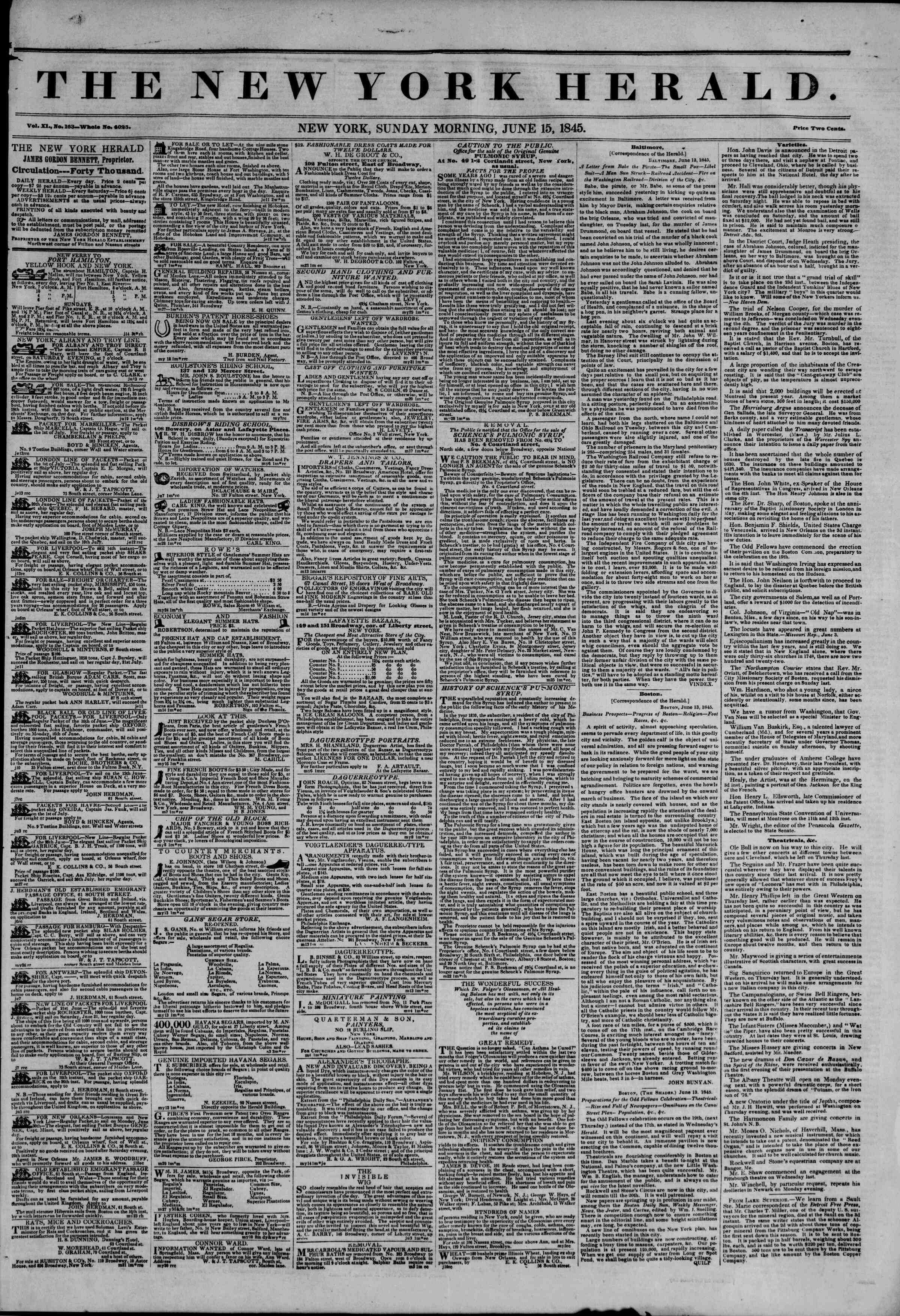 Newspaper of The New York Herald dated June 15, 1845 Page 1