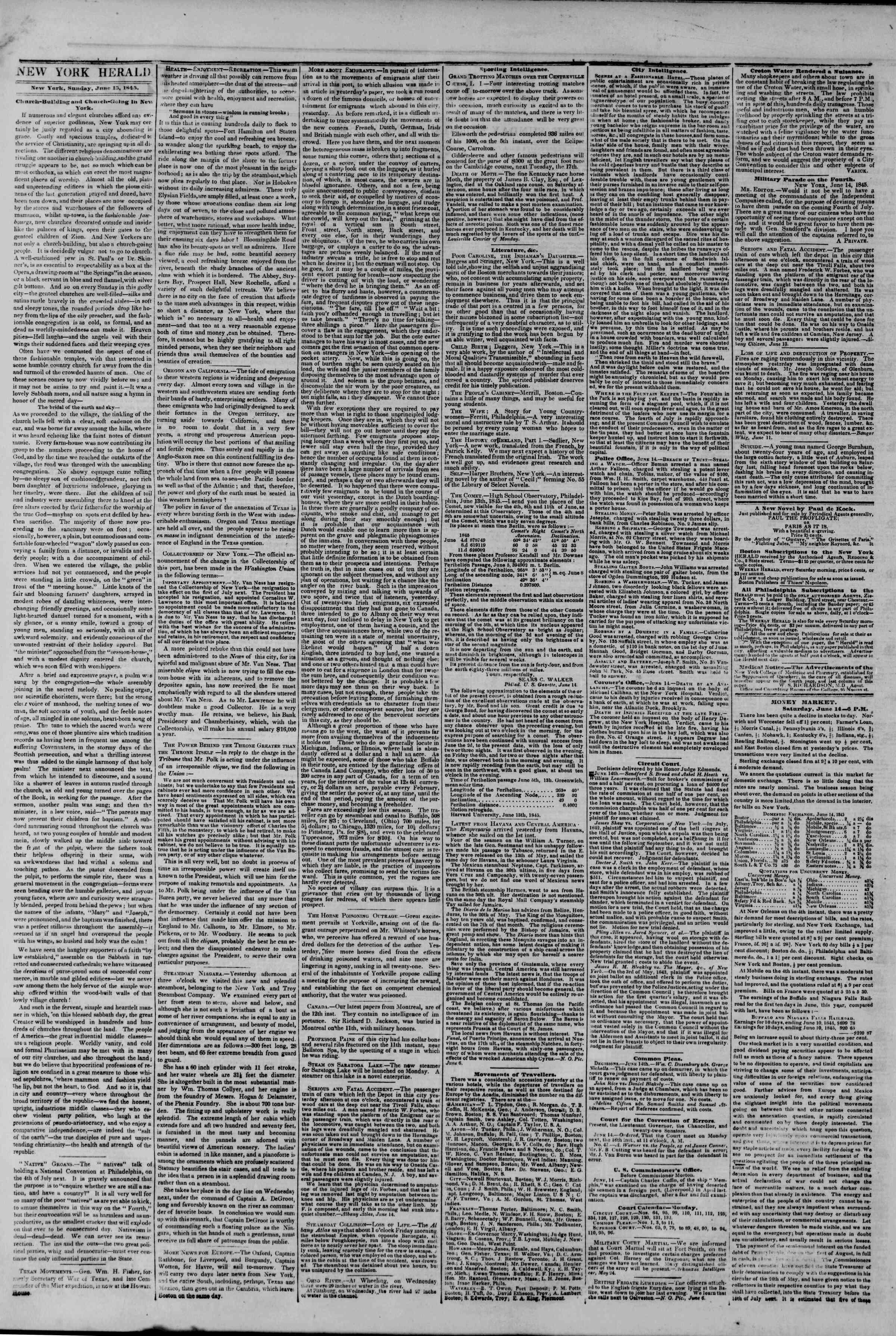 June 15, 1845 Tarihli The New York Herald Gazetesi Sayfa 2
