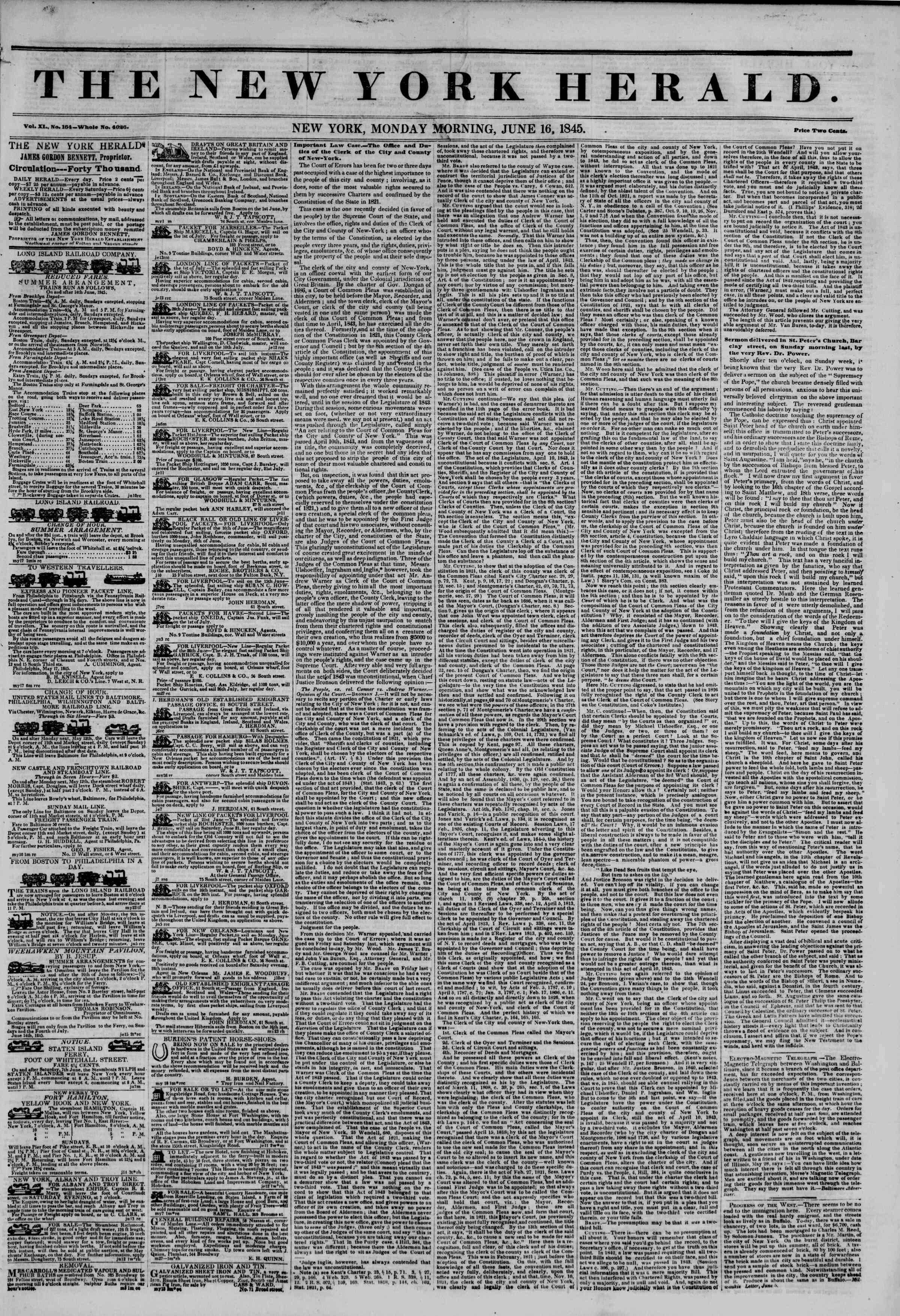 June 16, 1845 Tarihli The New York Herald Gazetesi Sayfa 1
