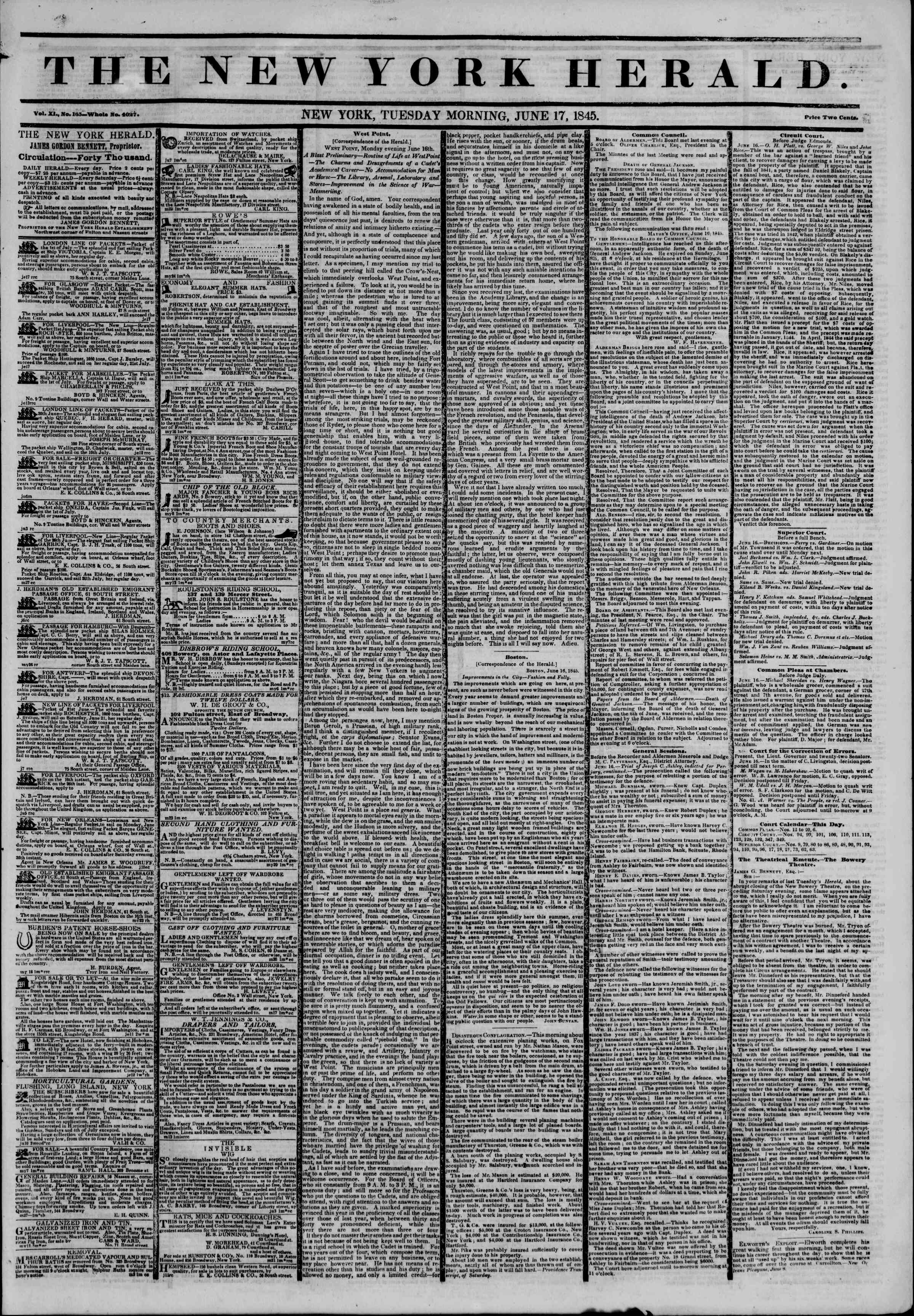 Newspaper of The New York Herald dated June 17, 1845 Page 1