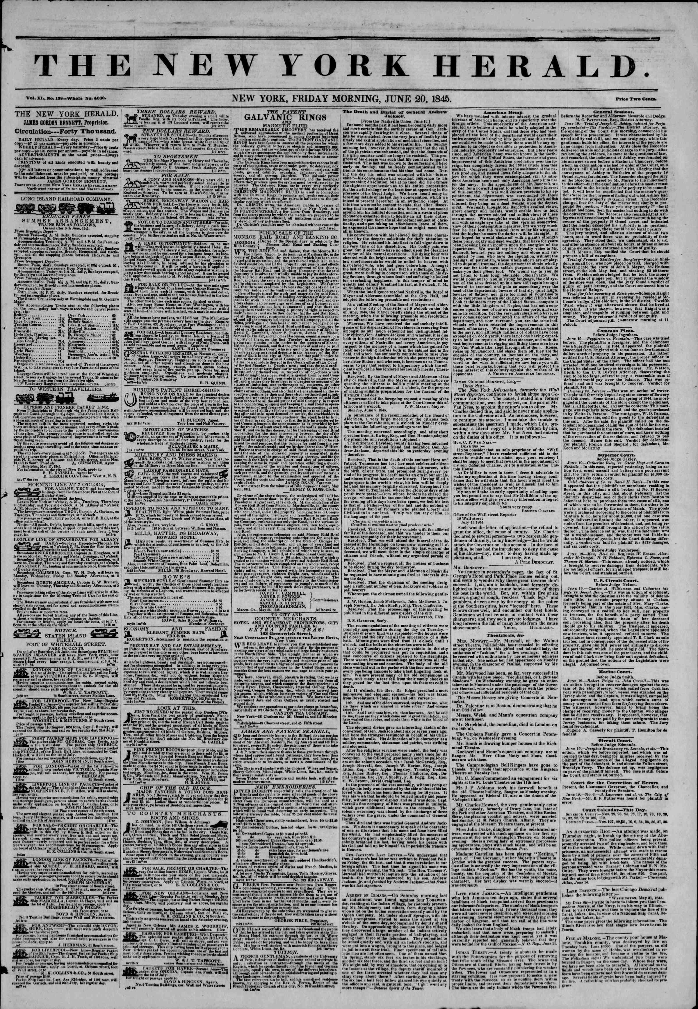 June 20, 1845 Tarihli The New York Herald Gazetesi Sayfa 1