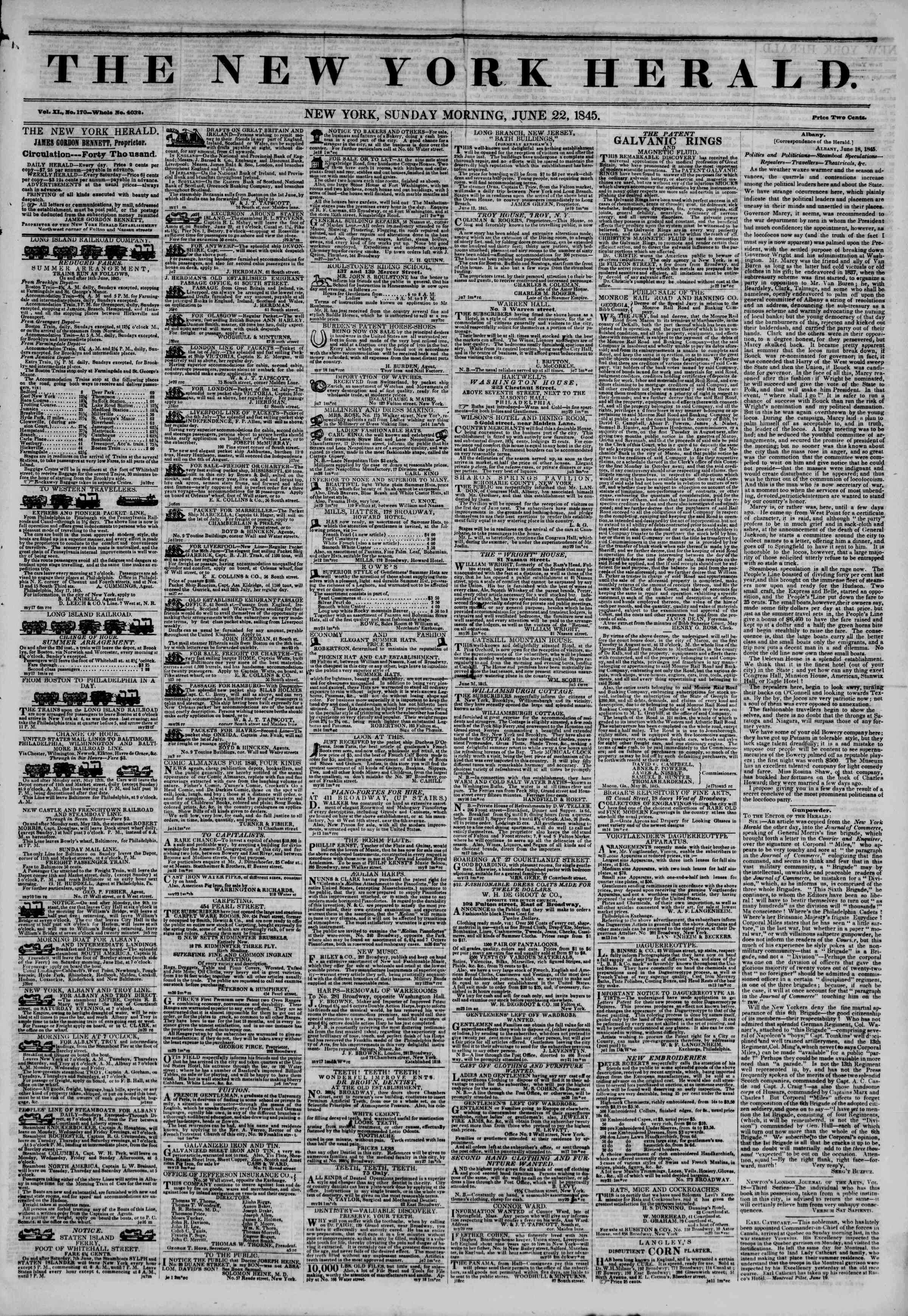 Newspaper of The New York Herald dated June 22, 1845 Page 1