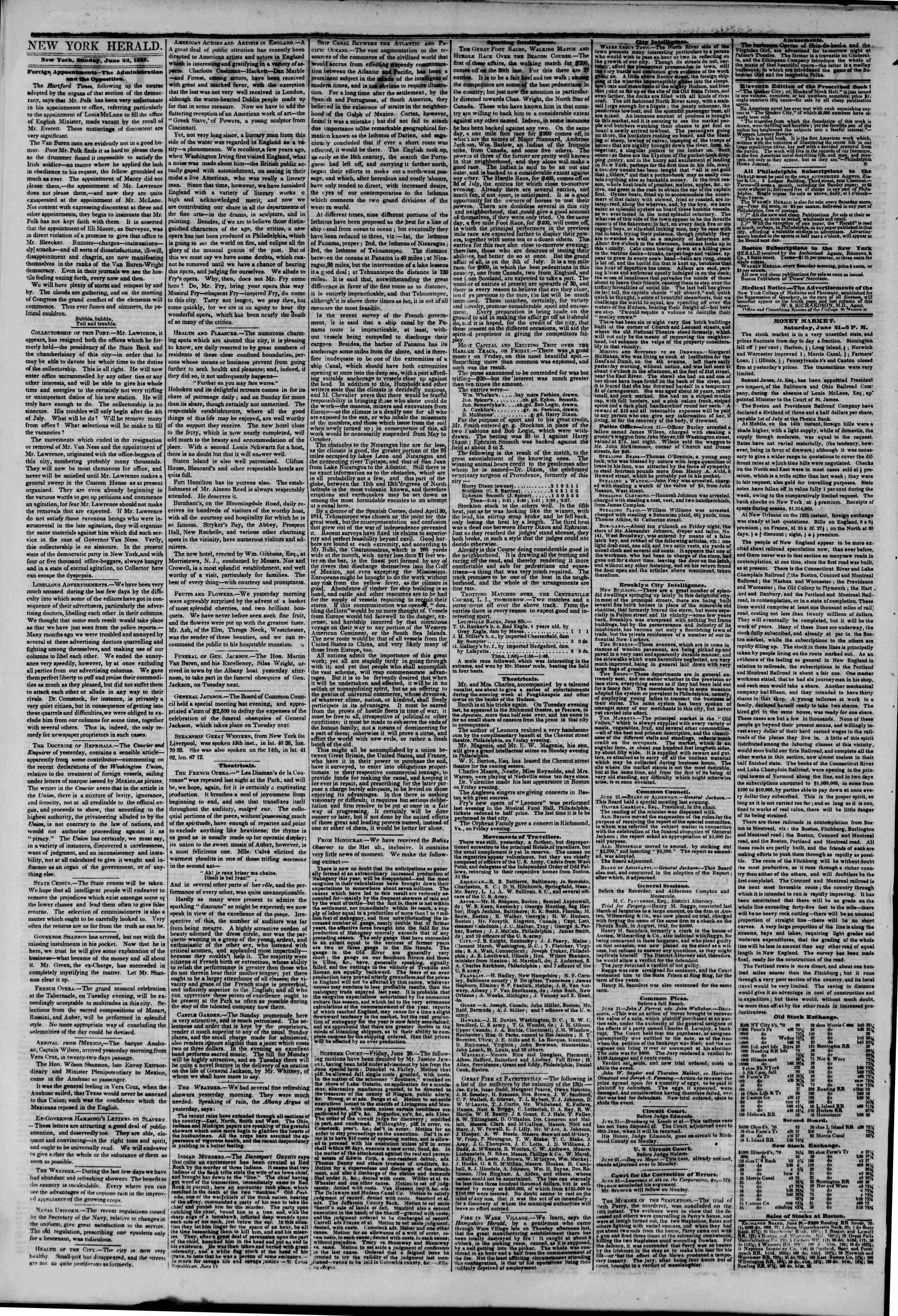 Newspaper of The New York Herald dated 22 Haziran 1845 Page 2