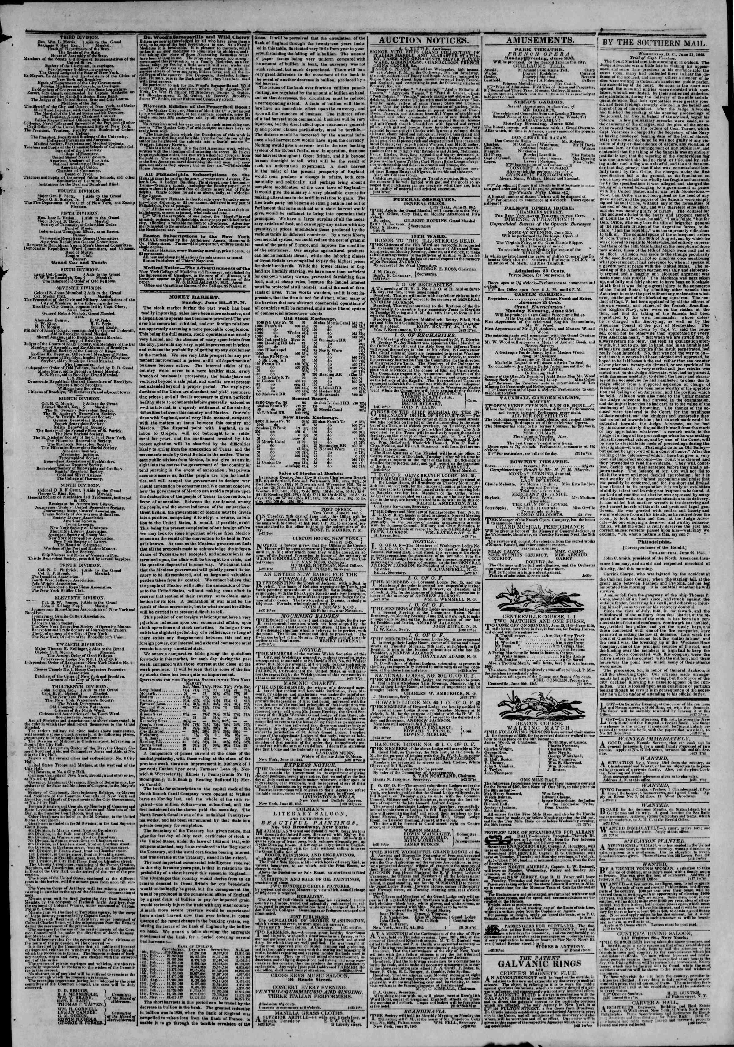 June 23, 1845 Tarihli The New York Herald Gazetesi Sayfa 3