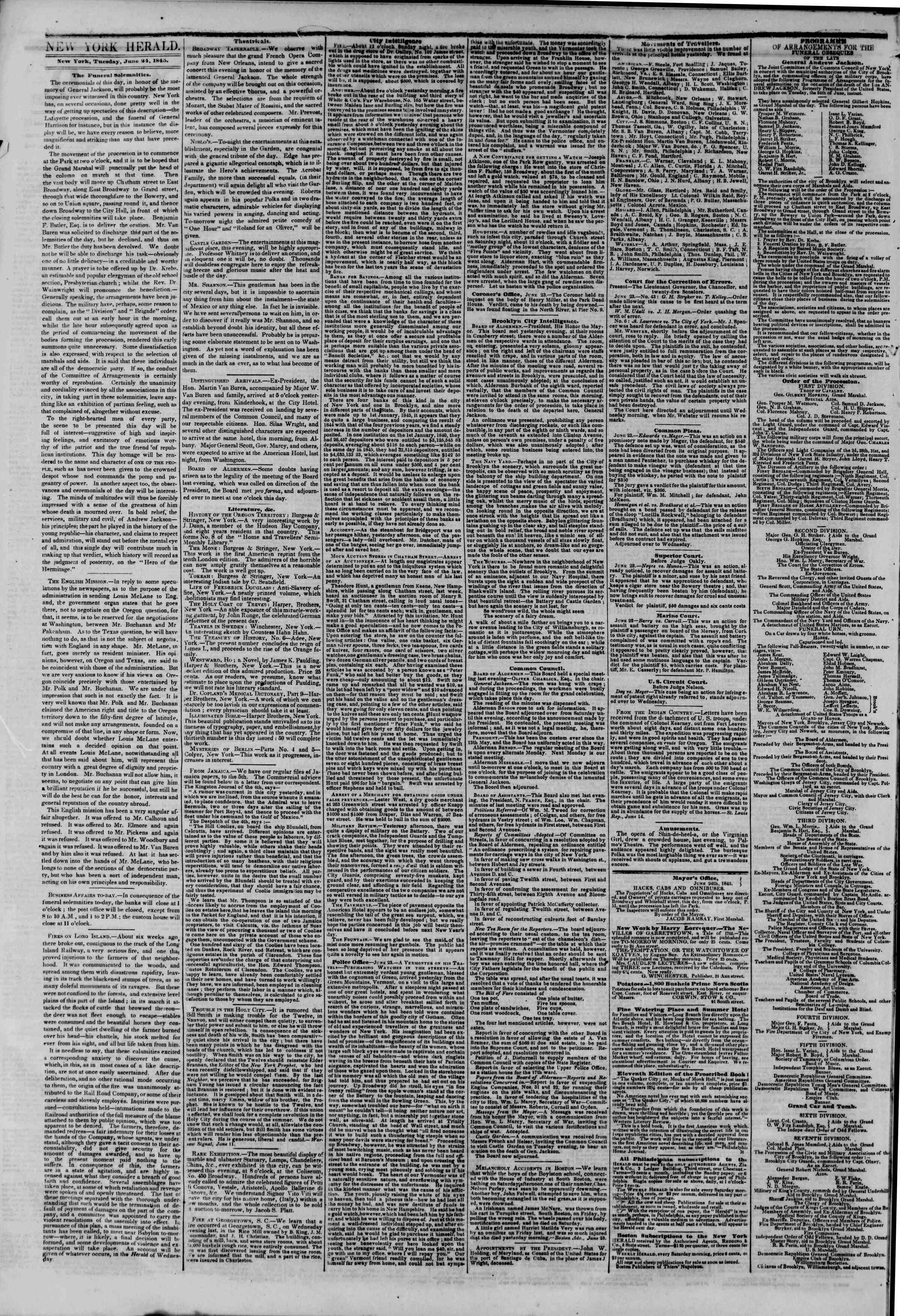 Newspaper of The New York Herald dated June 24, 1845 Page 2