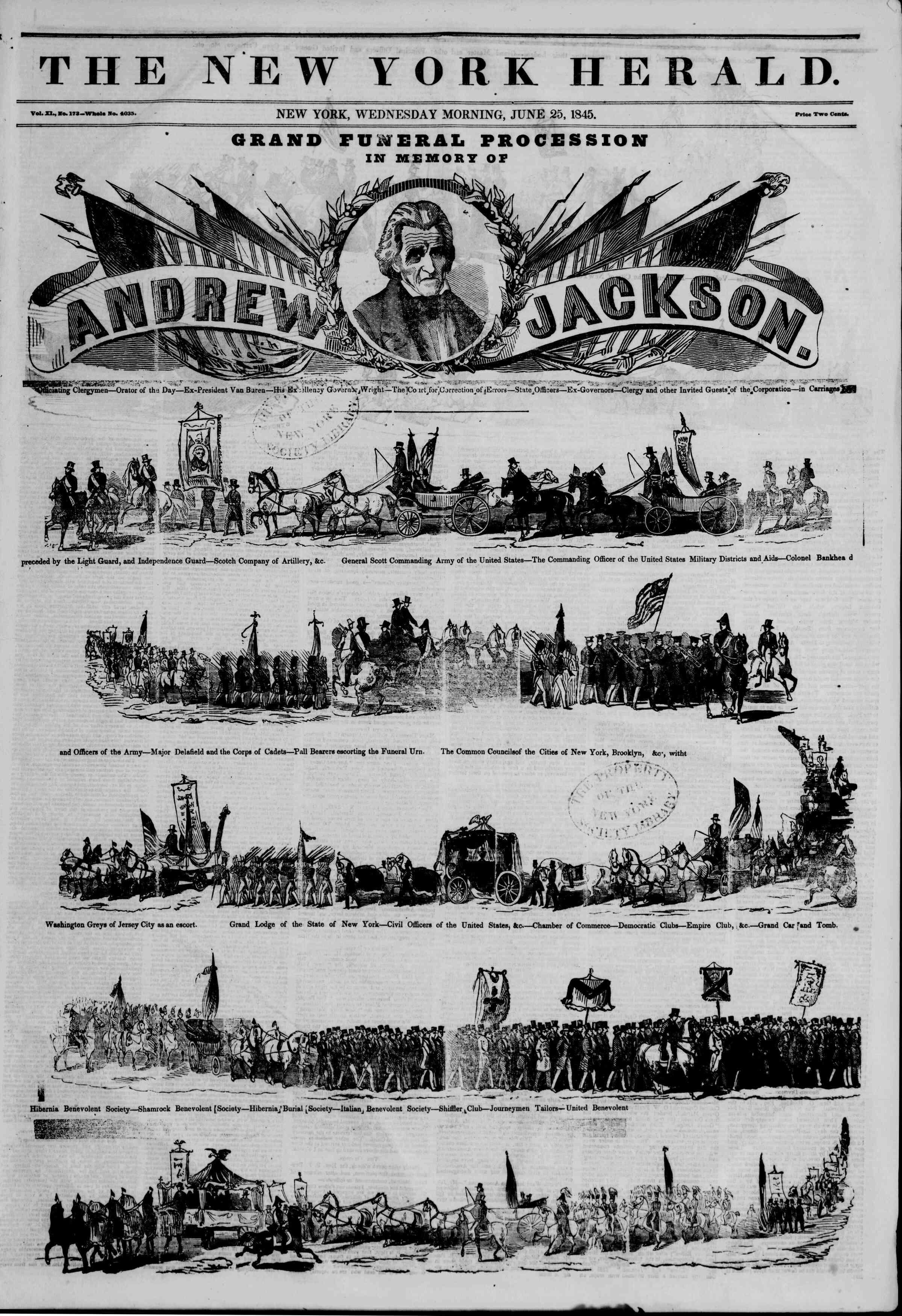 June 25, 1845 Tarihli The New York Herald Gazetesi Sayfa 1