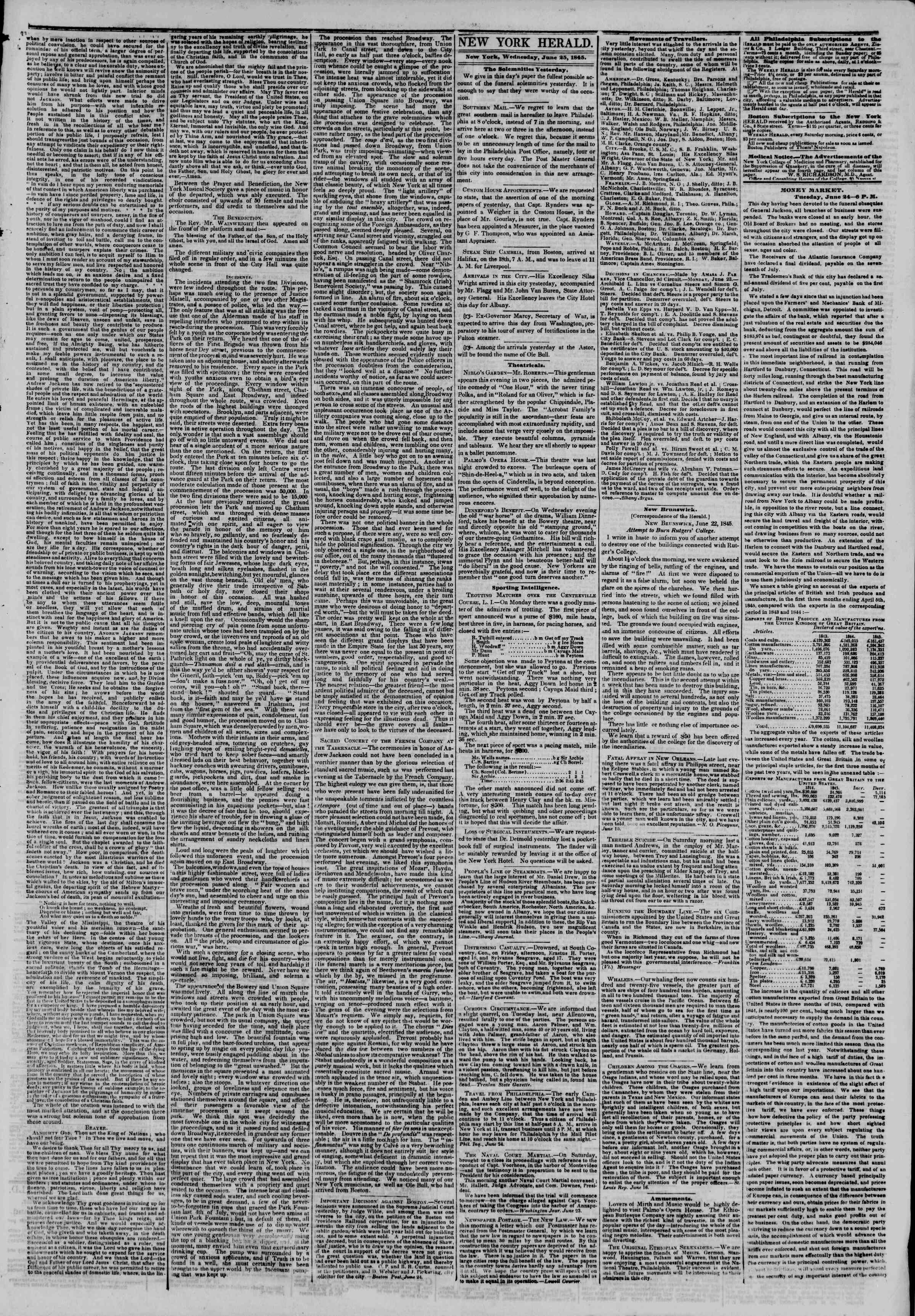 Newspaper of The New York Herald dated June 25, 1845 Page 3