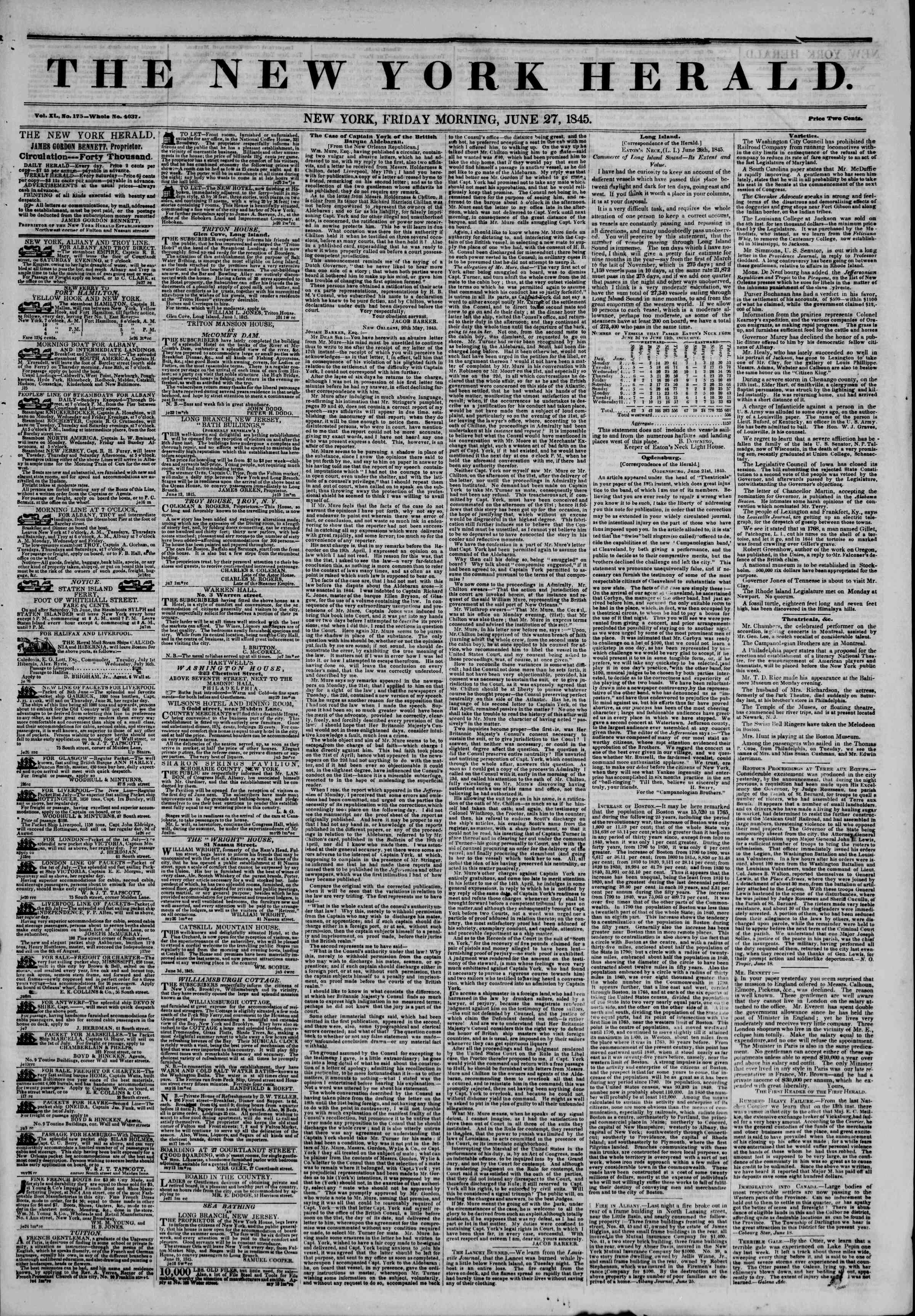 June 27, 1845 Tarihli The New York Herald Gazetesi Sayfa 1