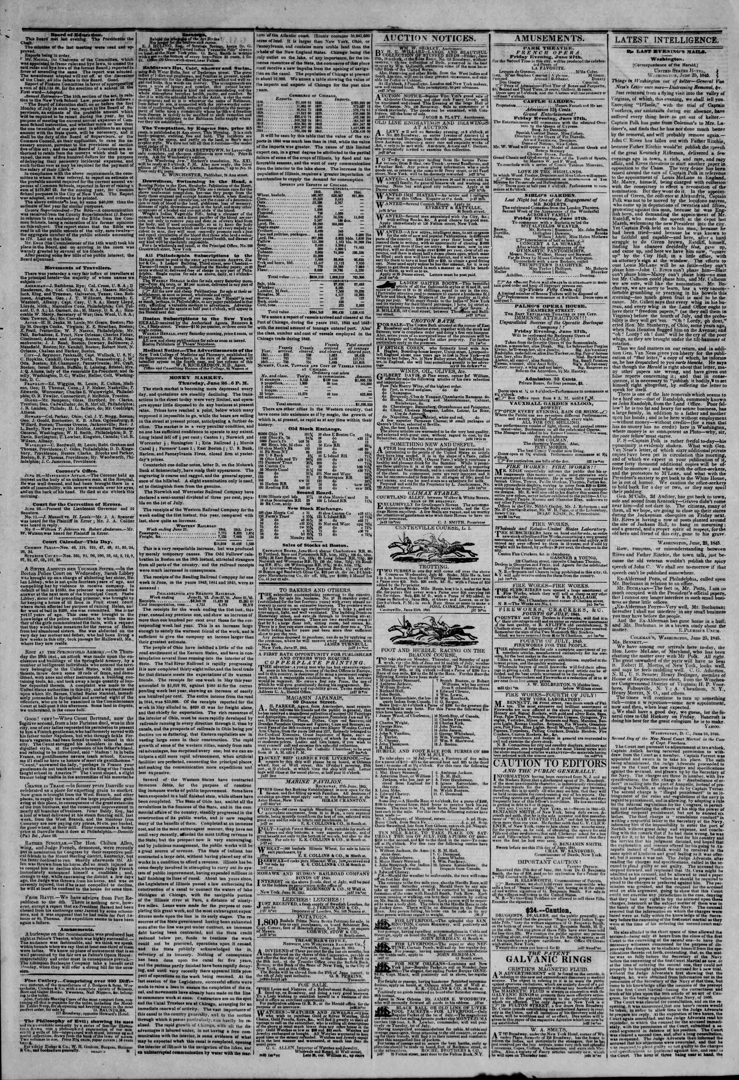 Newspaper of The New York Herald dated June 27, 1845 Page 3