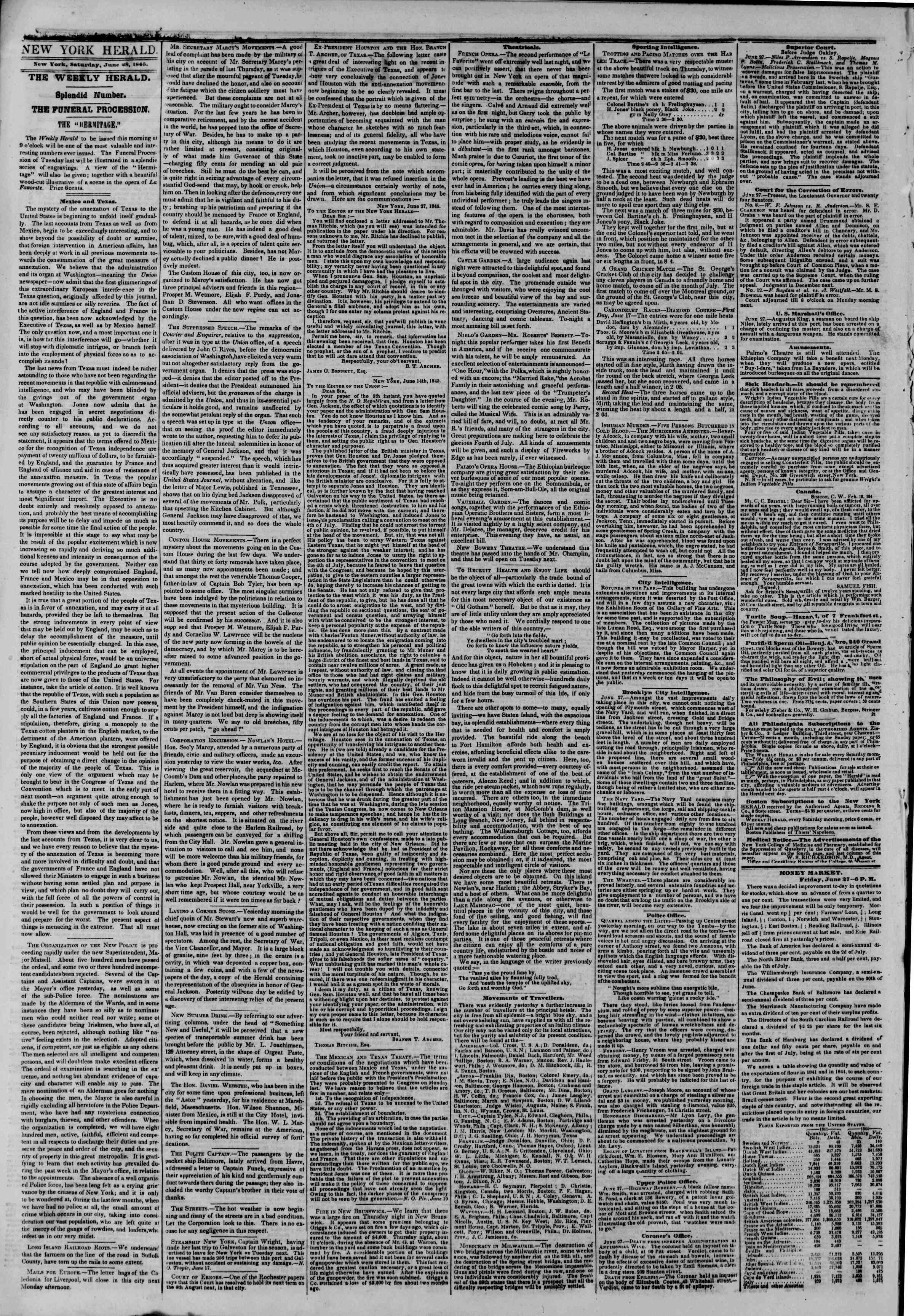 Newspaper of The New York Herald dated June 28, 1845 Page 2