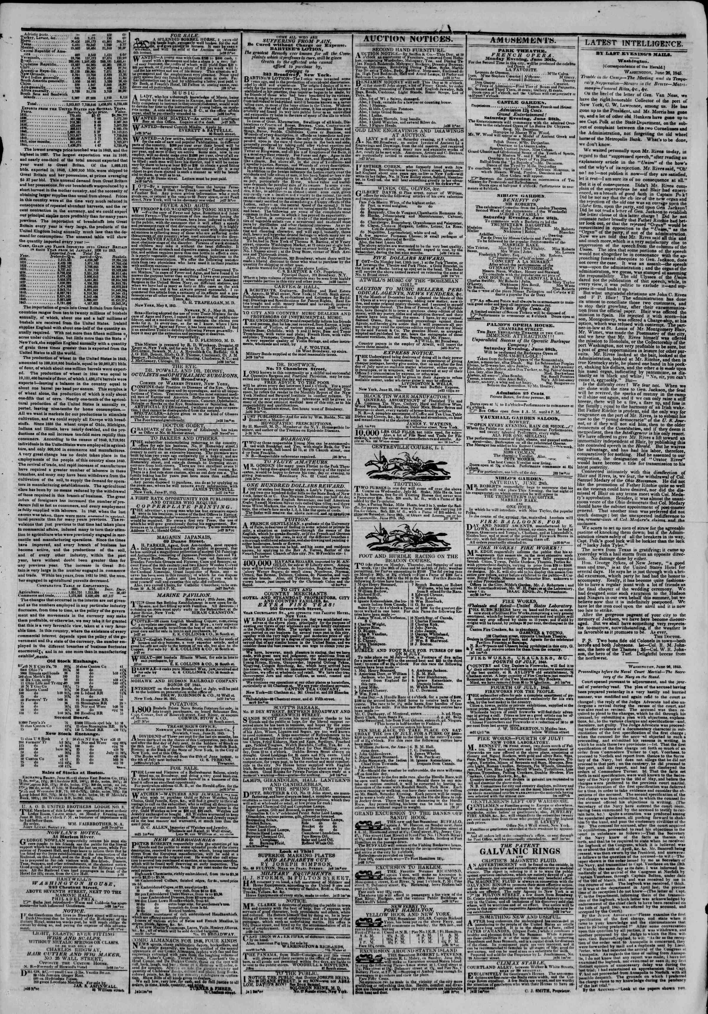 June 28, 1845 Tarihli The New York Herald Gazetesi Sayfa 3