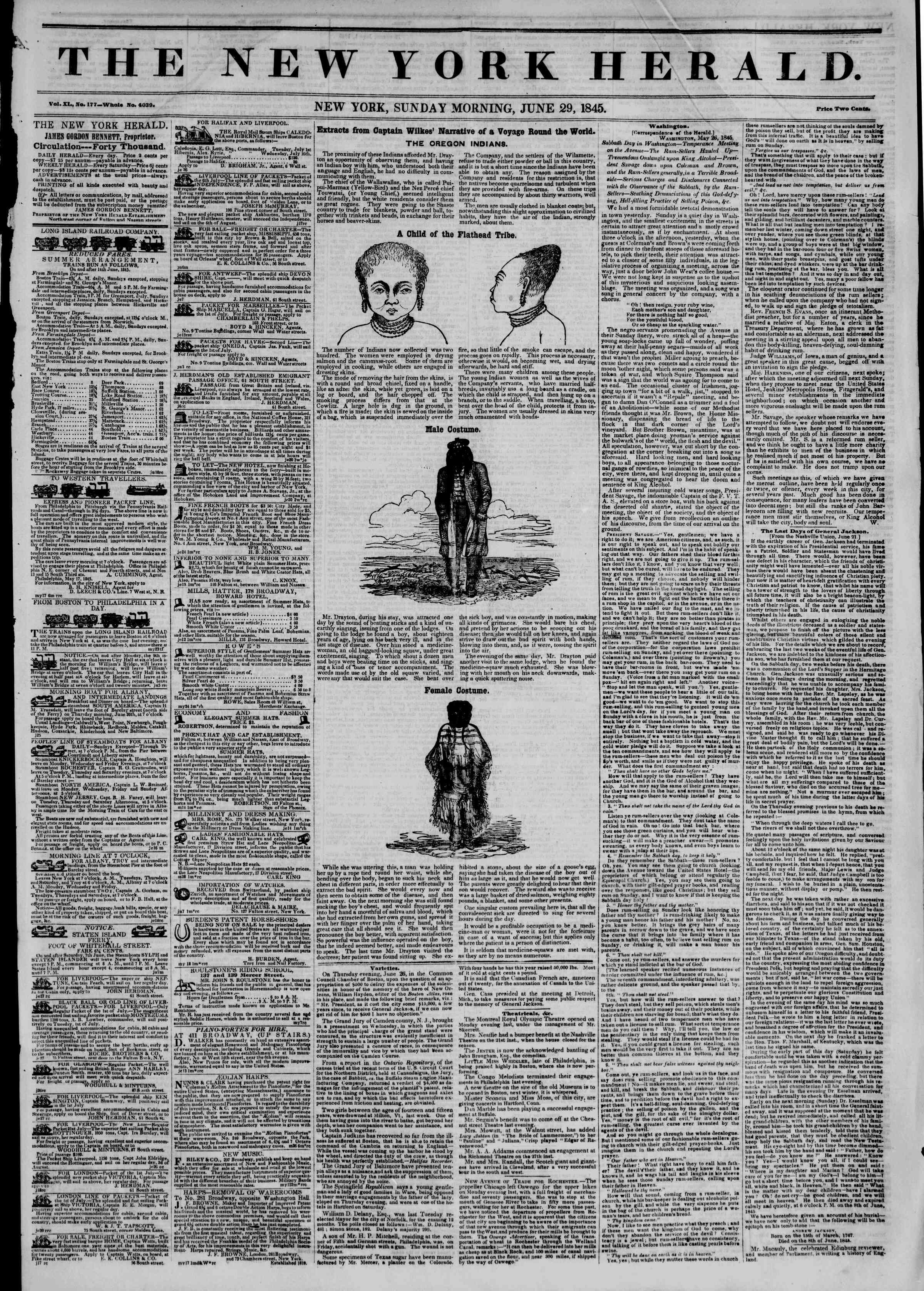 Newspaper of The New York Herald dated June 29, 1845 Page 1